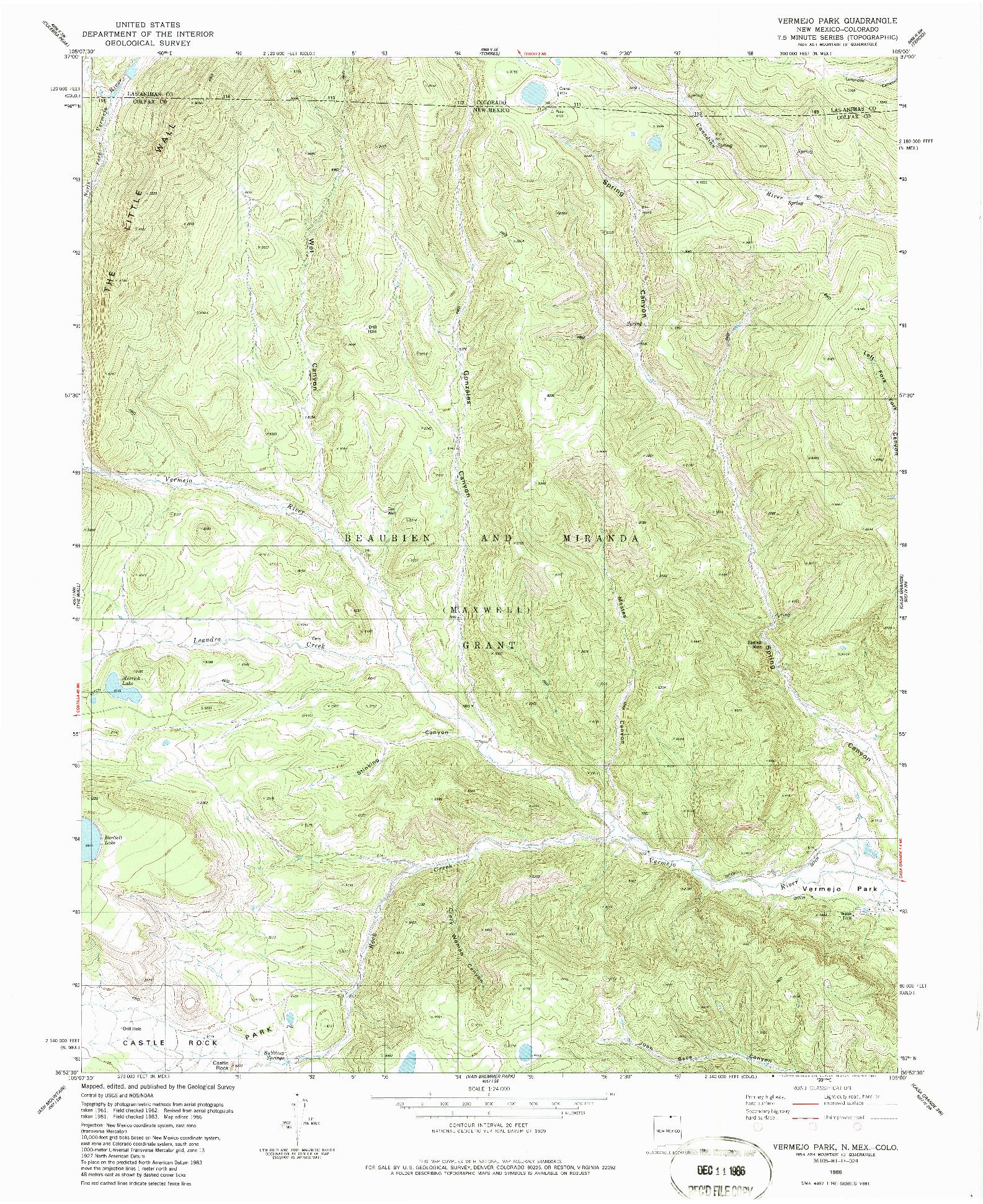 USGS 1:24000-SCALE QUADRANGLE FOR VERMEJO PARK, NM 1986