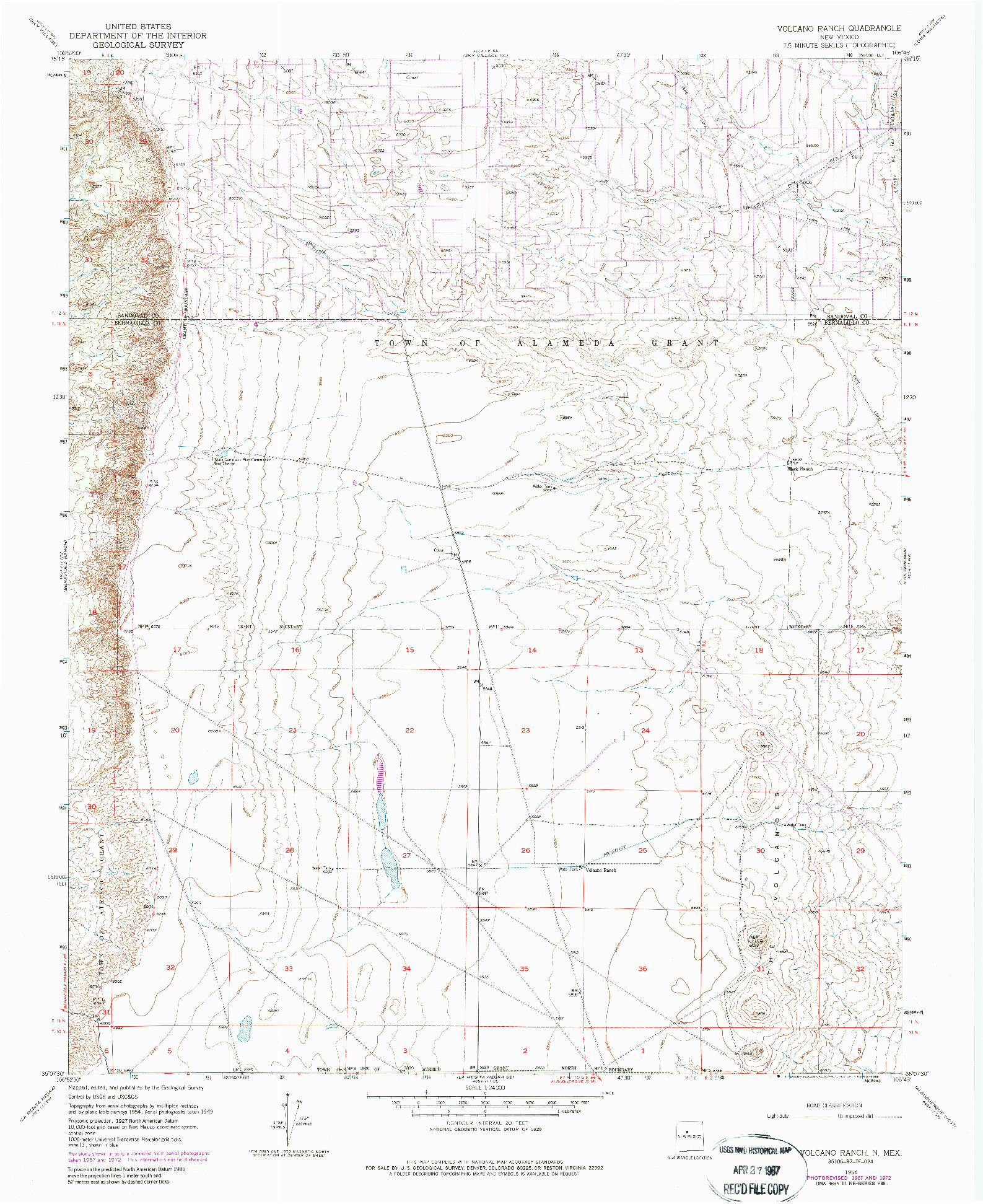 USGS 1:24000-SCALE QUADRANGLE FOR VOLCANO RANCH, NM 1954