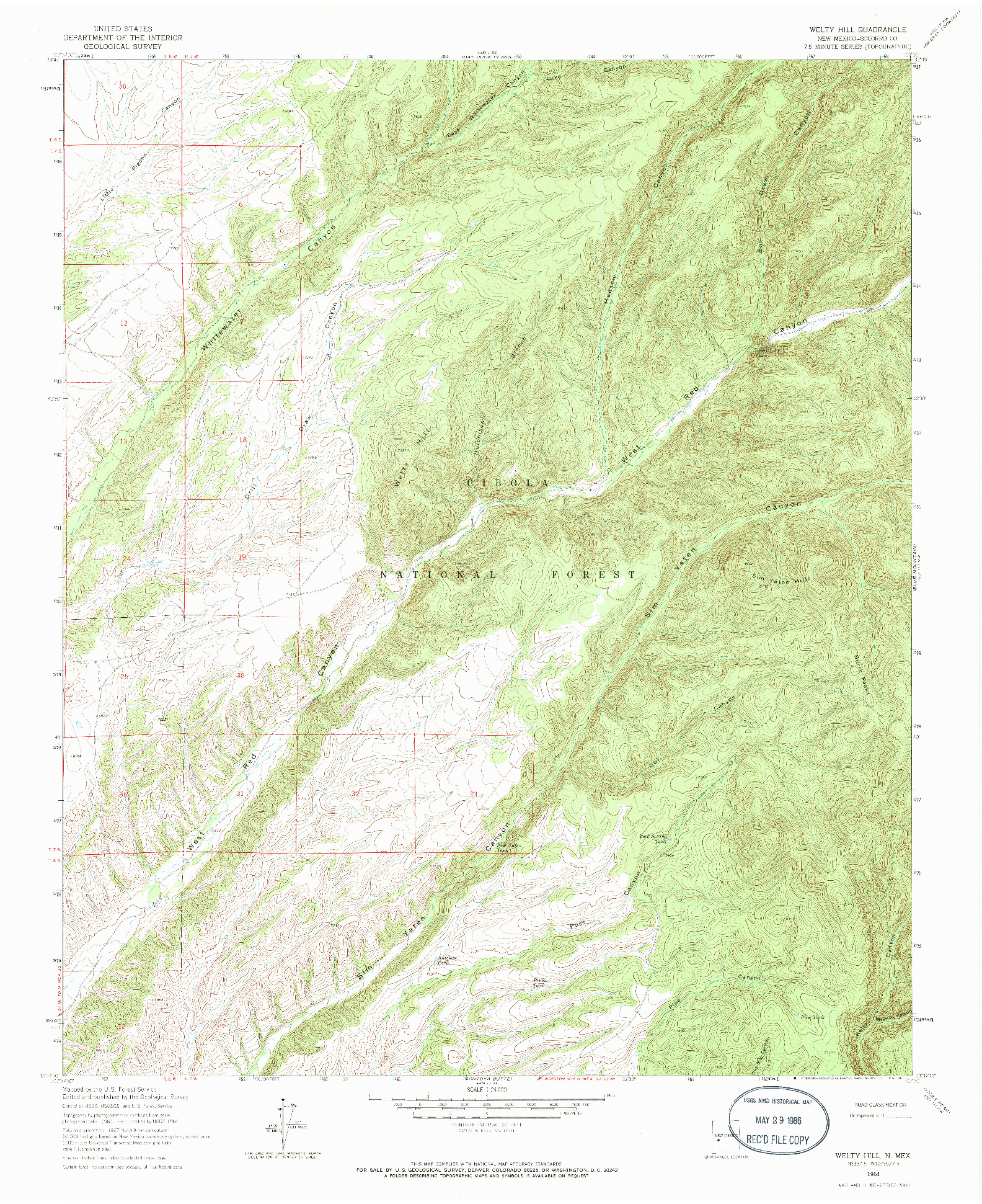 USGS 1:24000-SCALE QUADRANGLE FOR WELTY HILL, NM 1964