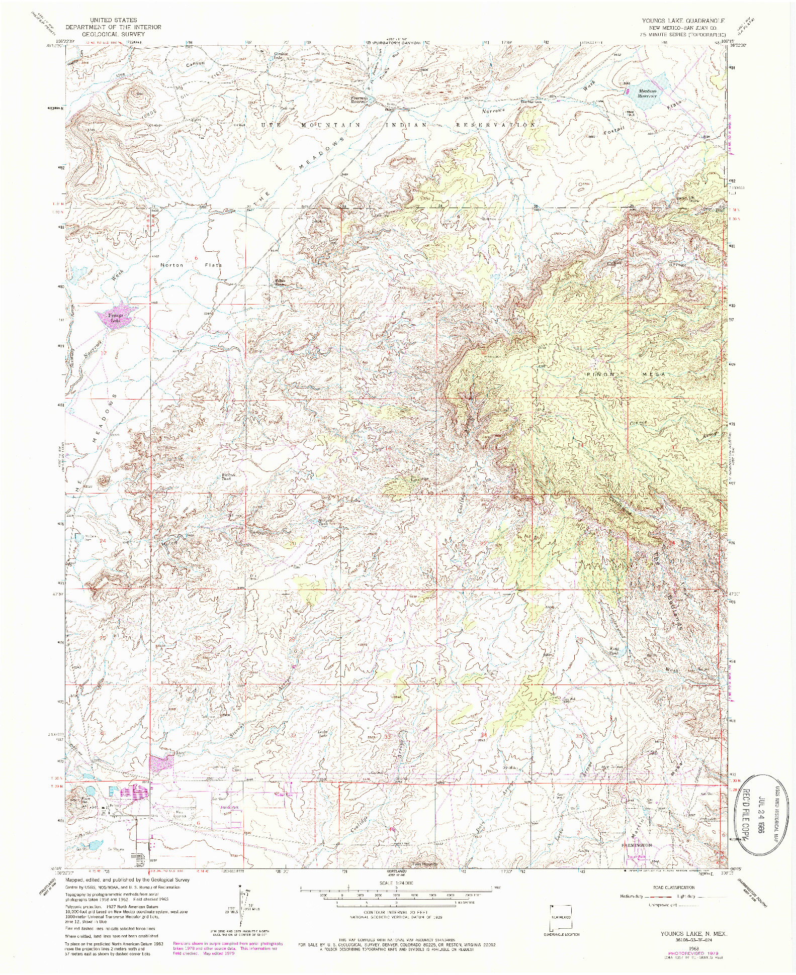 USGS 1:24000-SCALE QUADRANGLE FOR YOUNGS LAKE, NM 1963