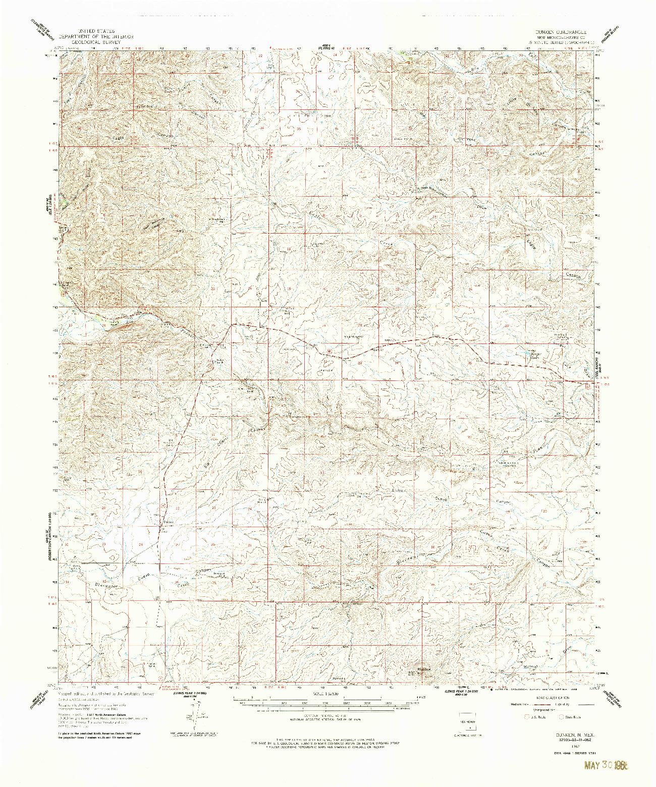 USGS 1:62500-SCALE QUADRANGLE FOR DUNKEN, NM 1962