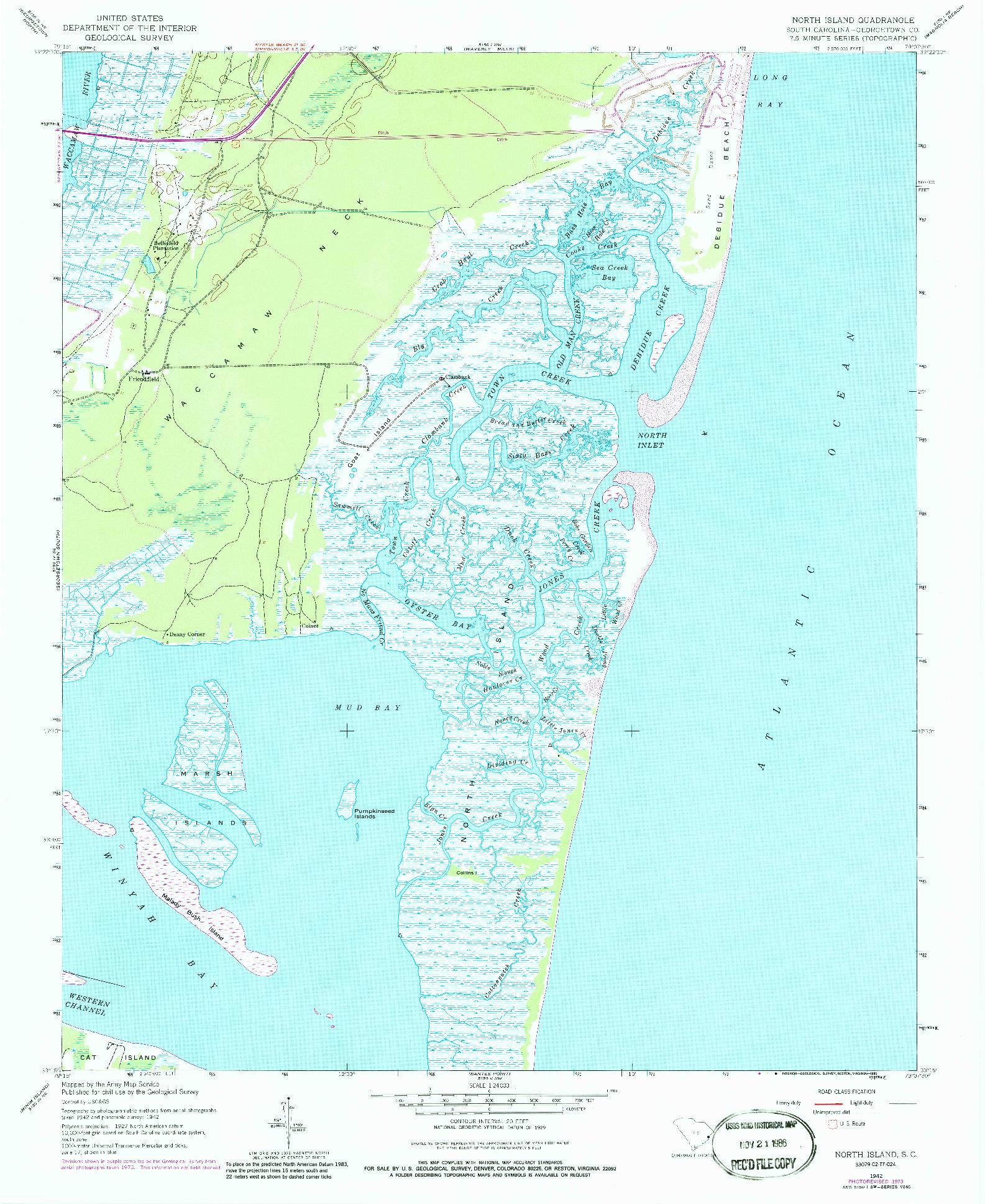 USGS 1:24000-SCALE QUADRANGLE FOR NORTH ISLAND, SC 1942