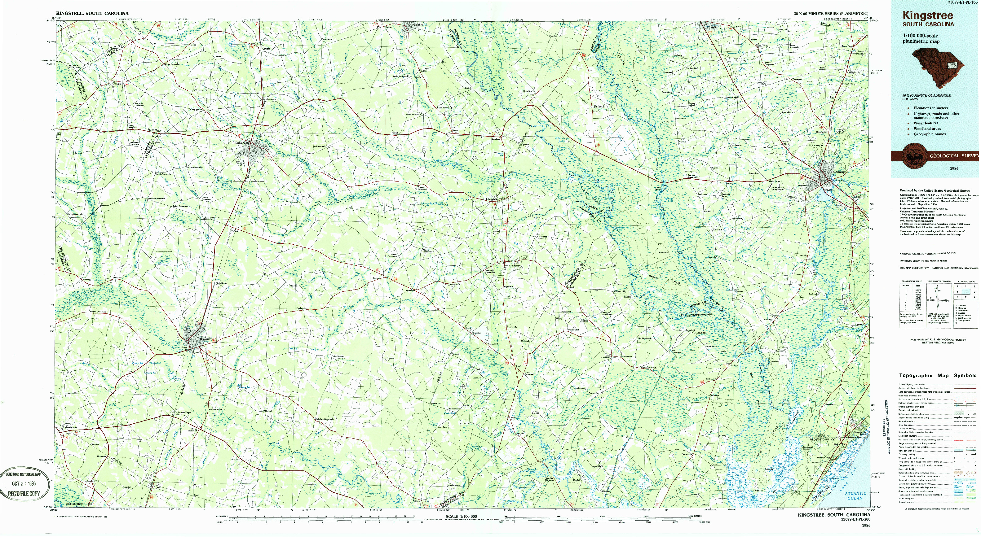 USGS 1:100000-SCALE QUADRANGLE FOR KINGSTREE, SC 1986