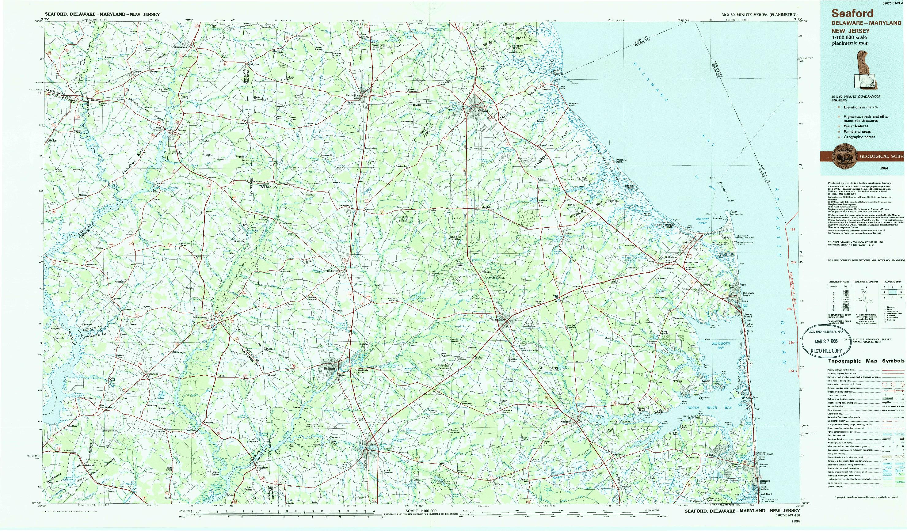 USGS 1:100000-SCALE QUADRANGLE FOR SEAFORD, DE 1984
