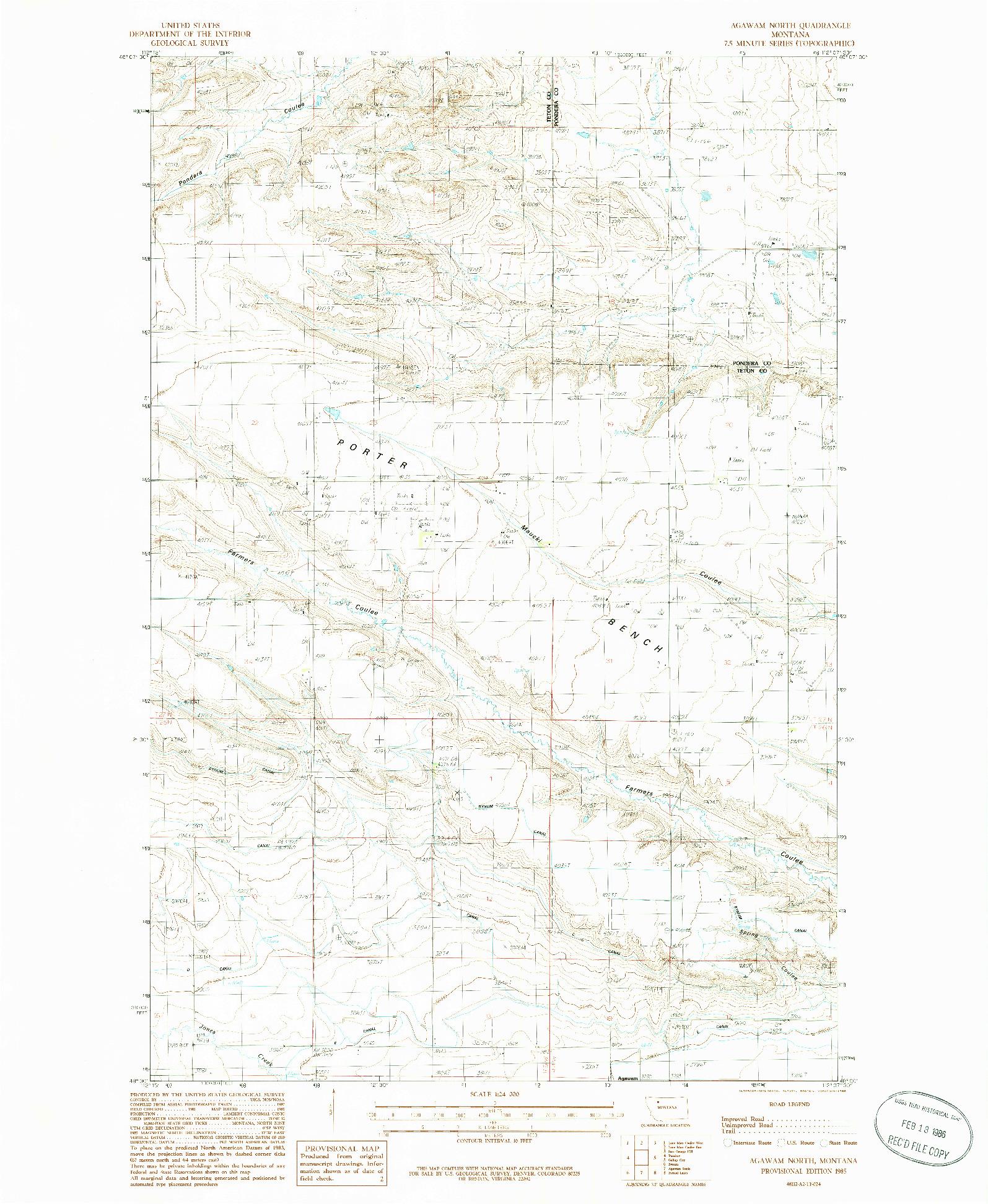 USGS 1:24000-SCALE QUADRANGLE FOR AGAWAM NORTH, MT 1985