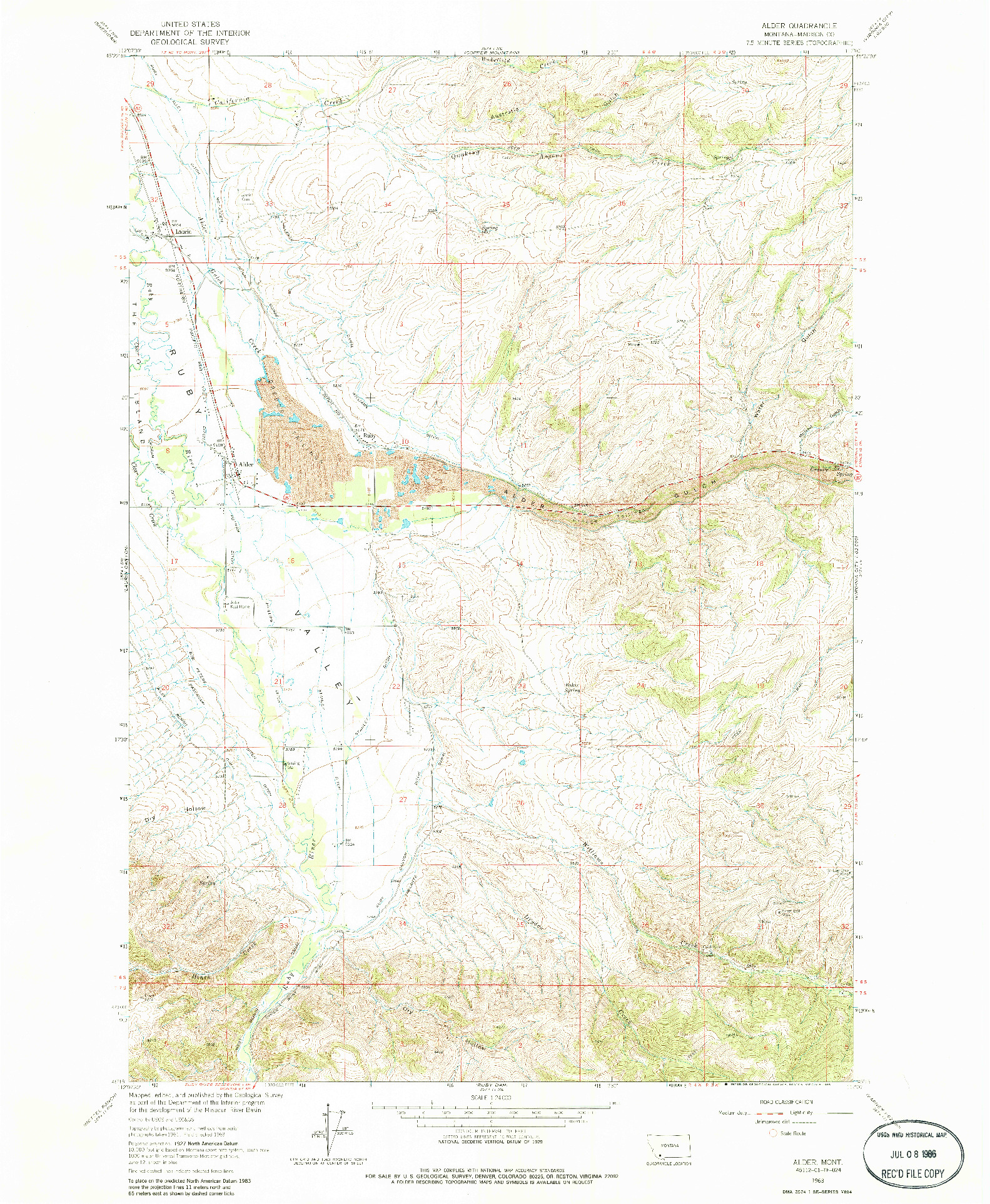 USGS 1:24000-SCALE QUADRANGLE FOR ALDER, MT 1963