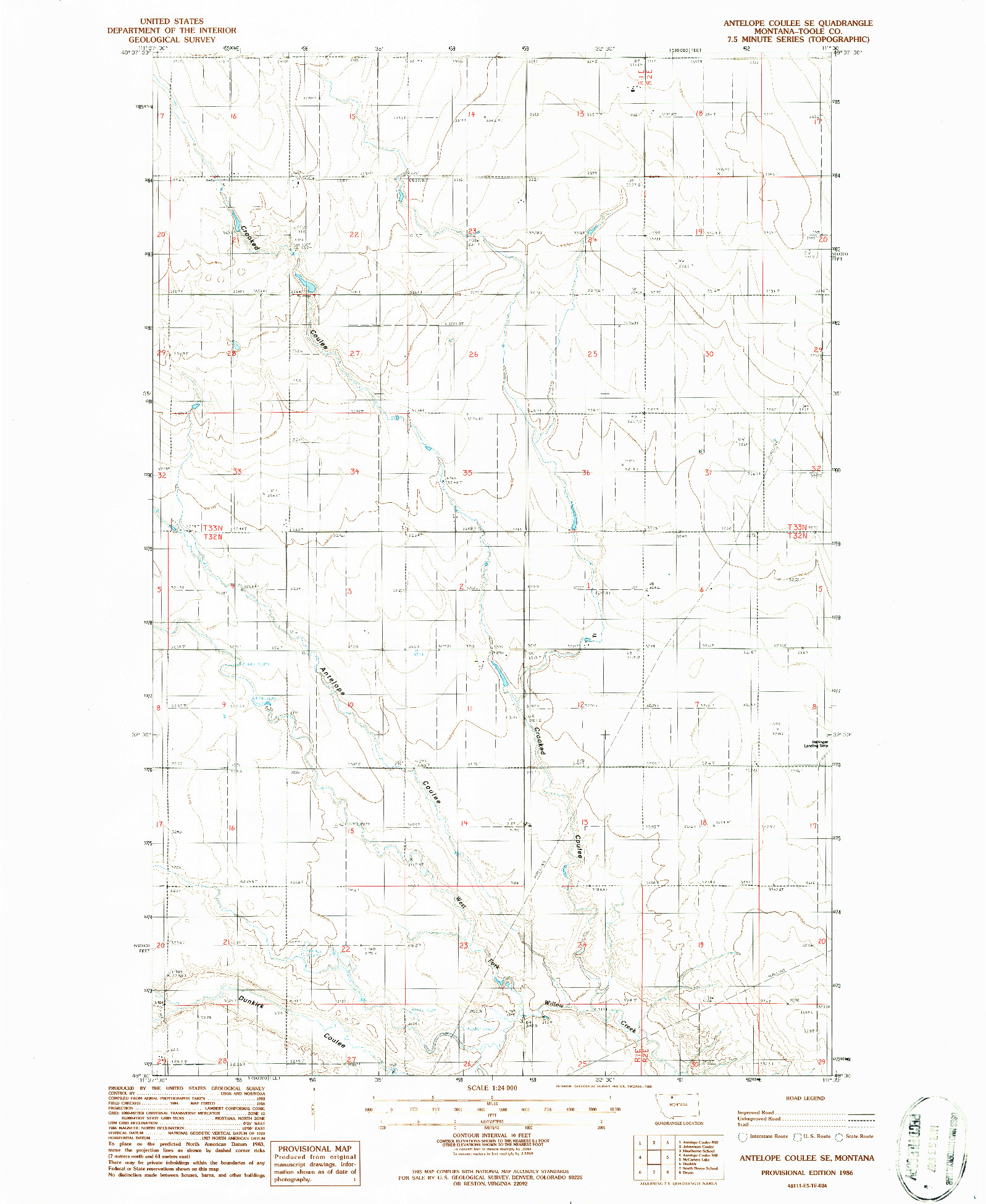 USGS 1:24000-SCALE QUADRANGLE FOR ANTELOPE COULEE SE, MT 1986
