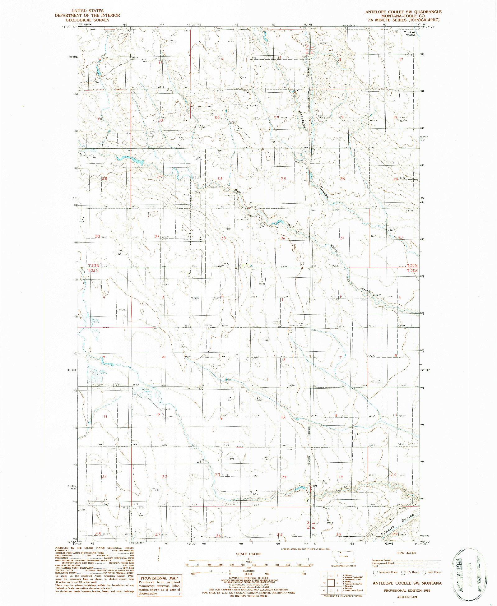 USGS 1:24000-SCALE QUADRANGLE FOR ANTELOPE COULEE SW, MT 1986