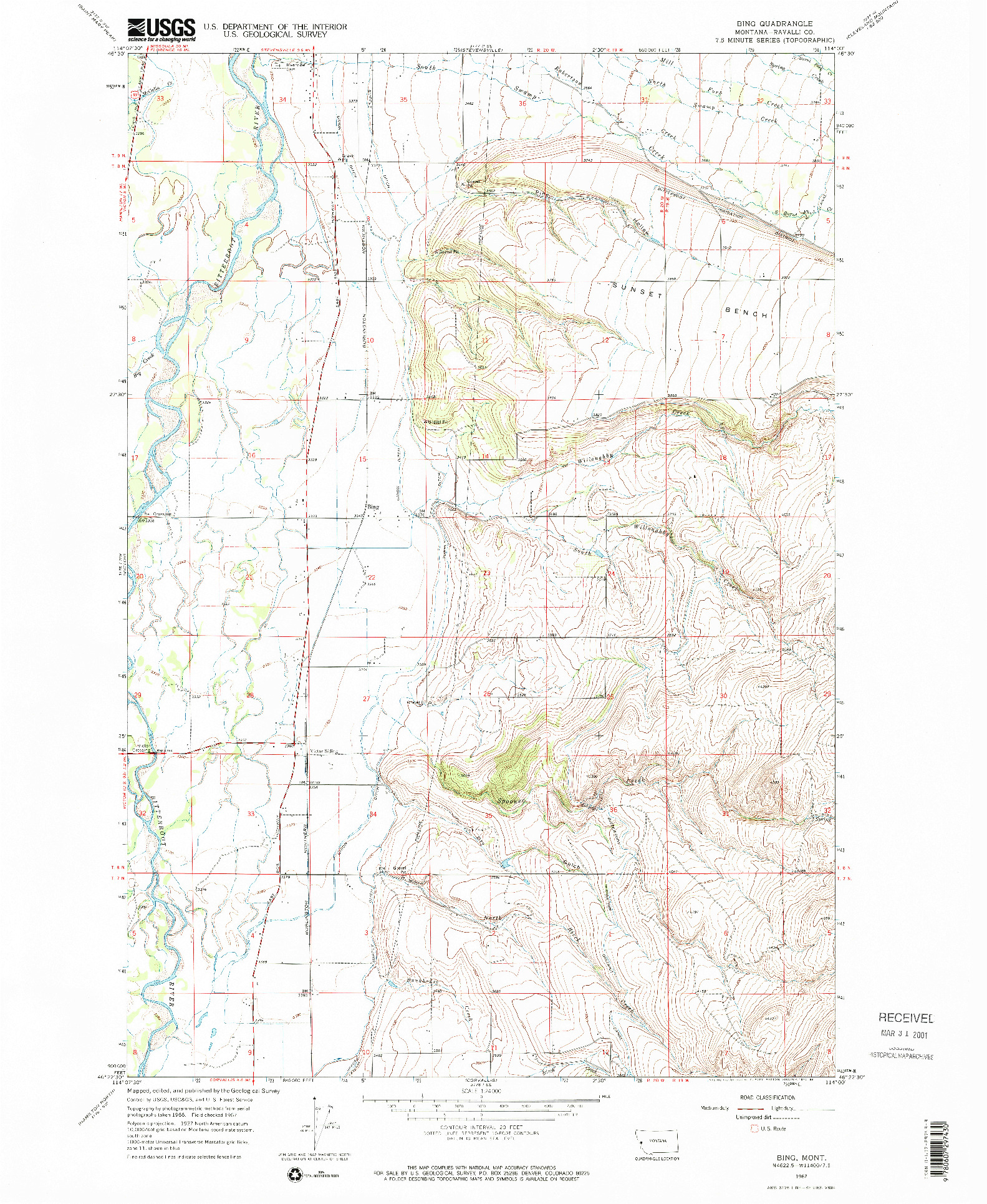 USGS 1:24000-SCALE QUADRANGLE FOR BING, MT 1967