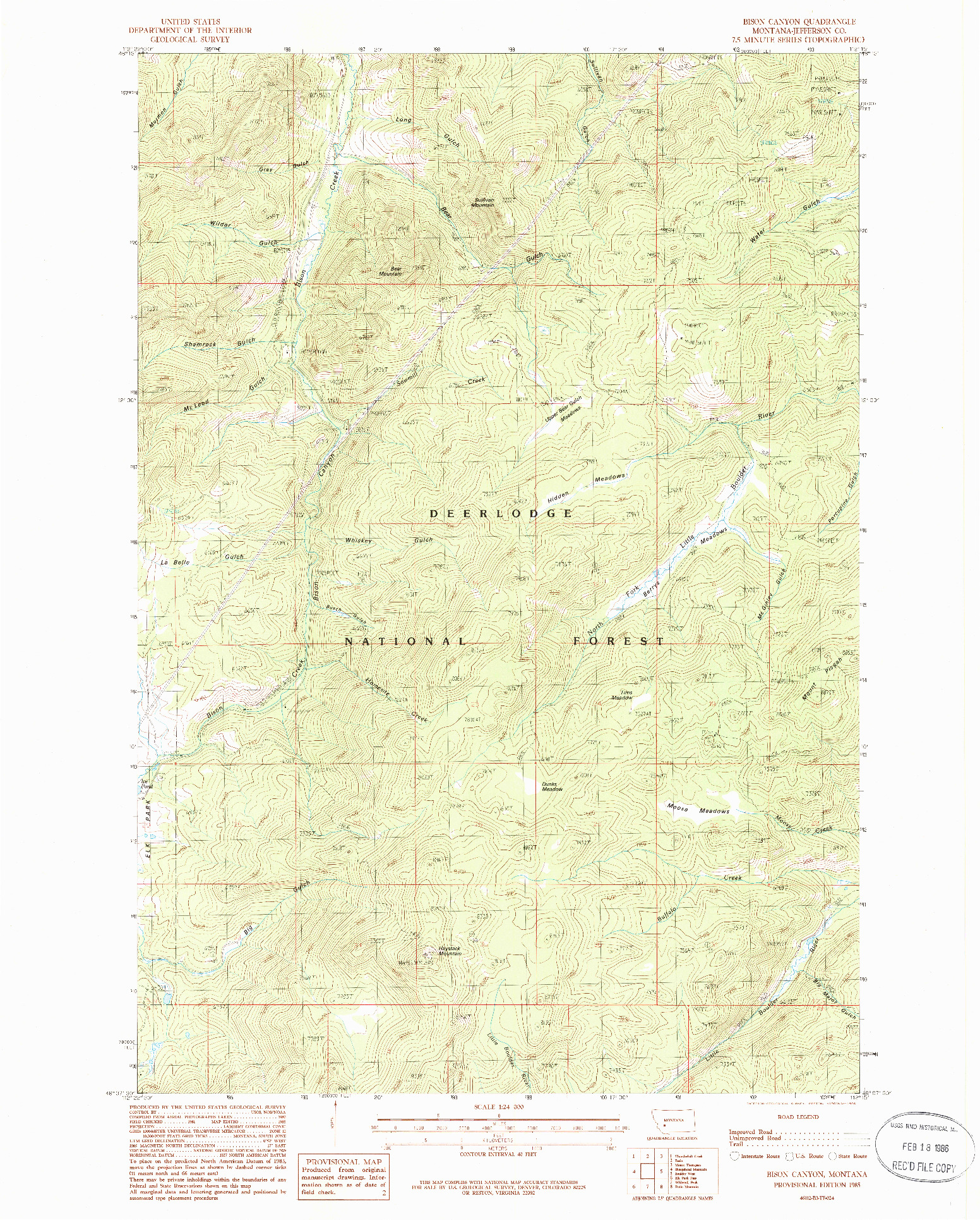 USGS 1:24000-SCALE QUADRANGLE FOR BISON CANYON, MT 1985