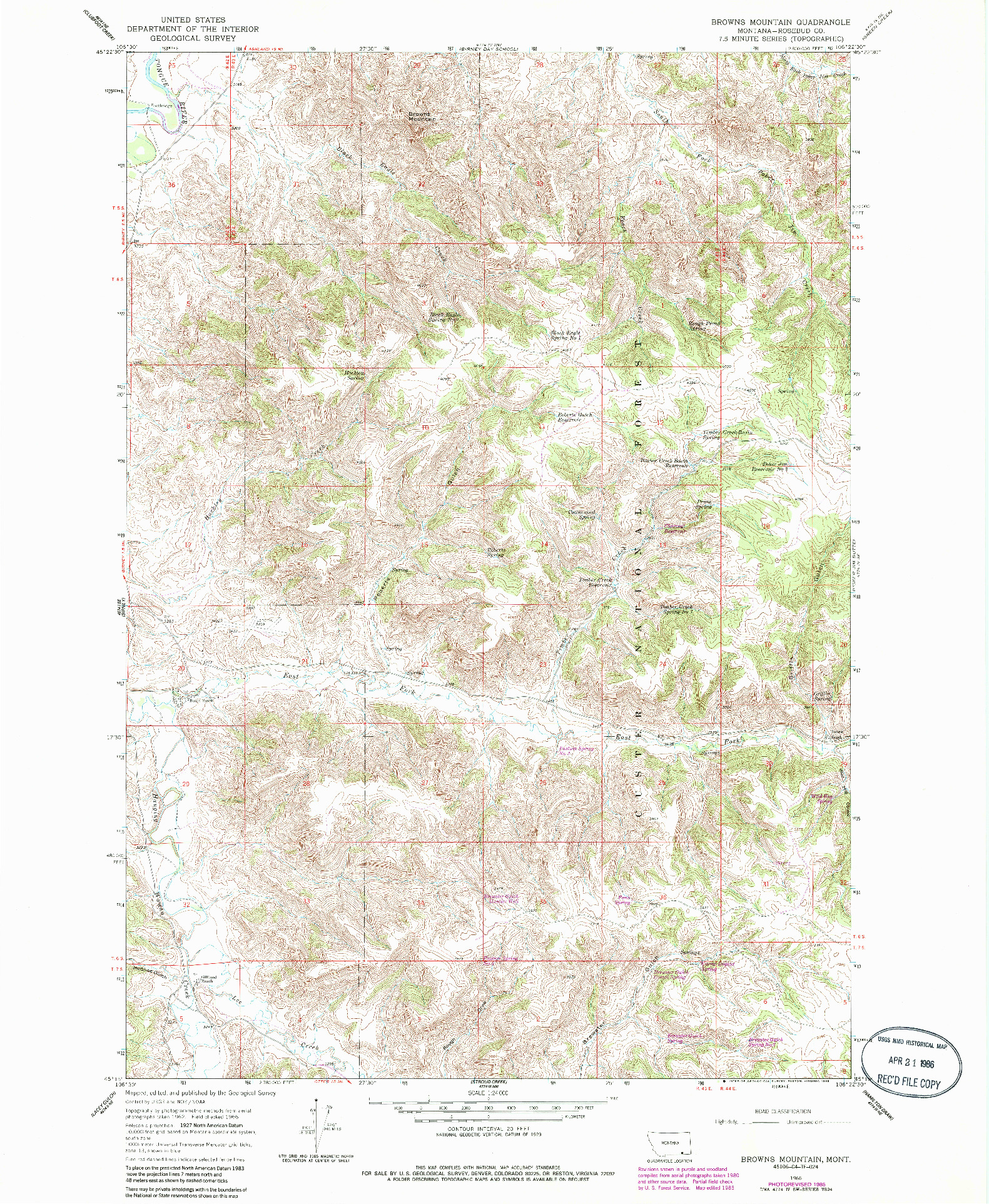 USGS 1:24000-SCALE QUADRANGLE FOR BROWNS MOUNTAIN, MT 1966
