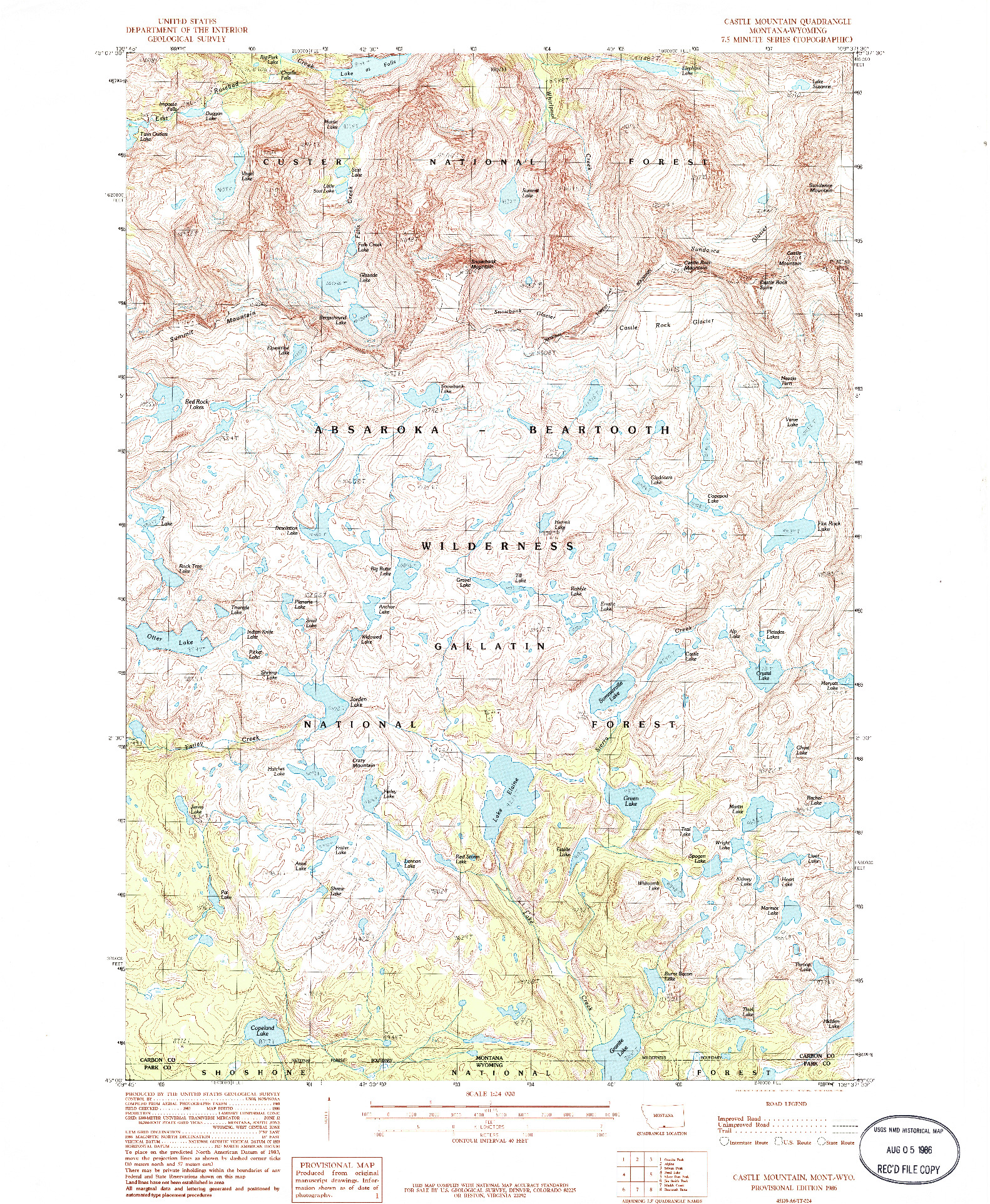 USGS 1:24000-SCALE QUADRANGLE FOR CASTLE MOUNTAIN, MT 1986