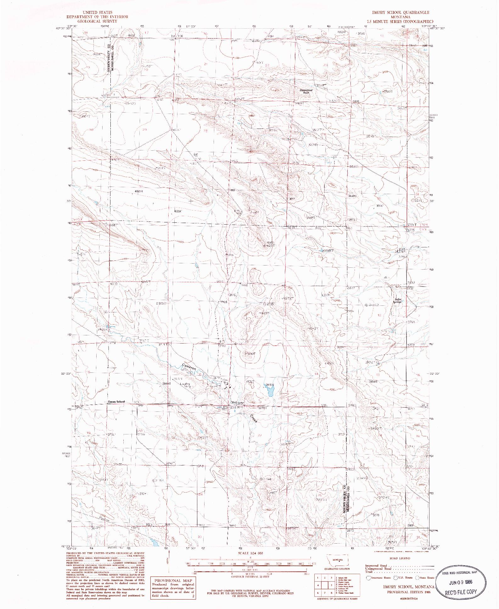 USGS 1:24000-SCALE QUADRANGLE FOR EMORY SCHOOL, MT 1986