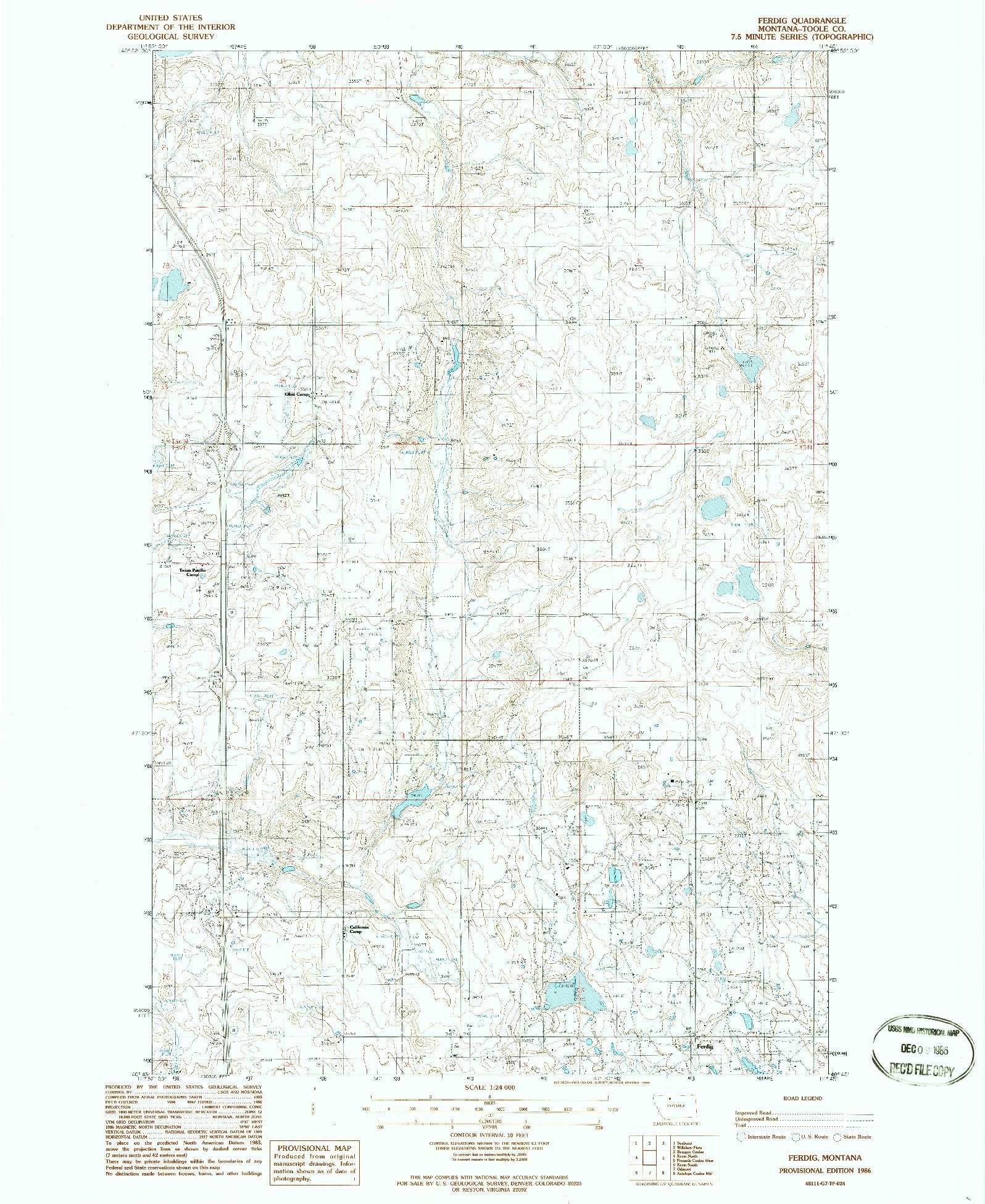USGS 1:24000-SCALE QUADRANGLE FOR FERDIG, MT 1986