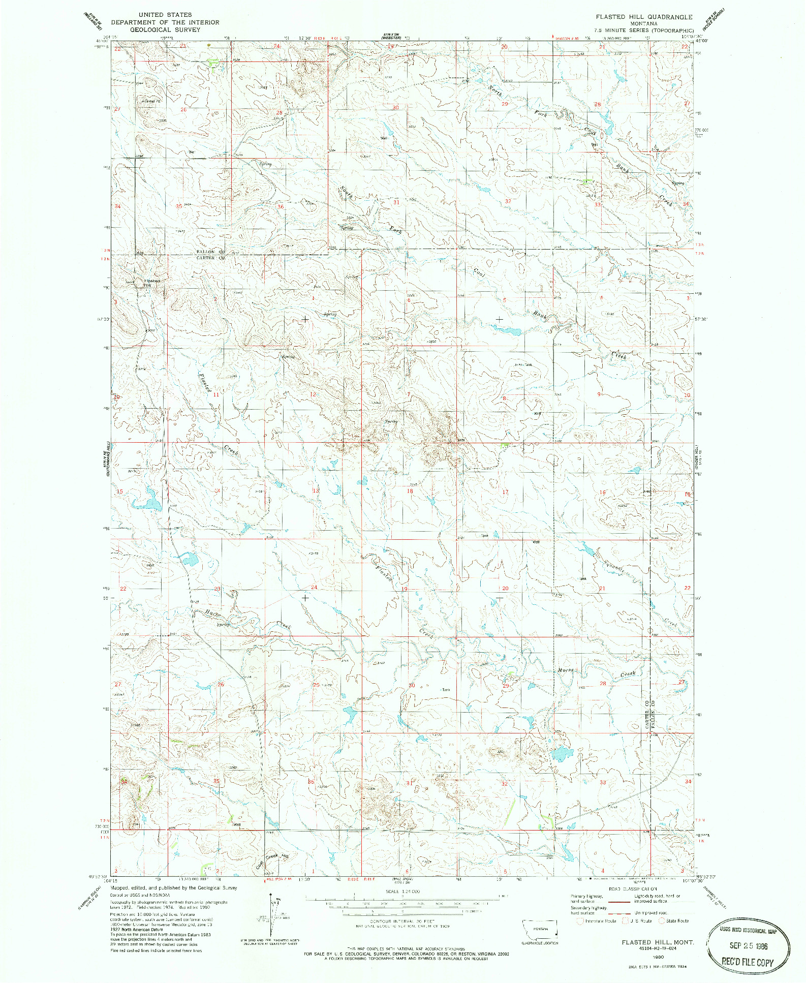 USGS 1:24000-SCALE QUADRANGLE FOR FLASTED HILL, MT 1980