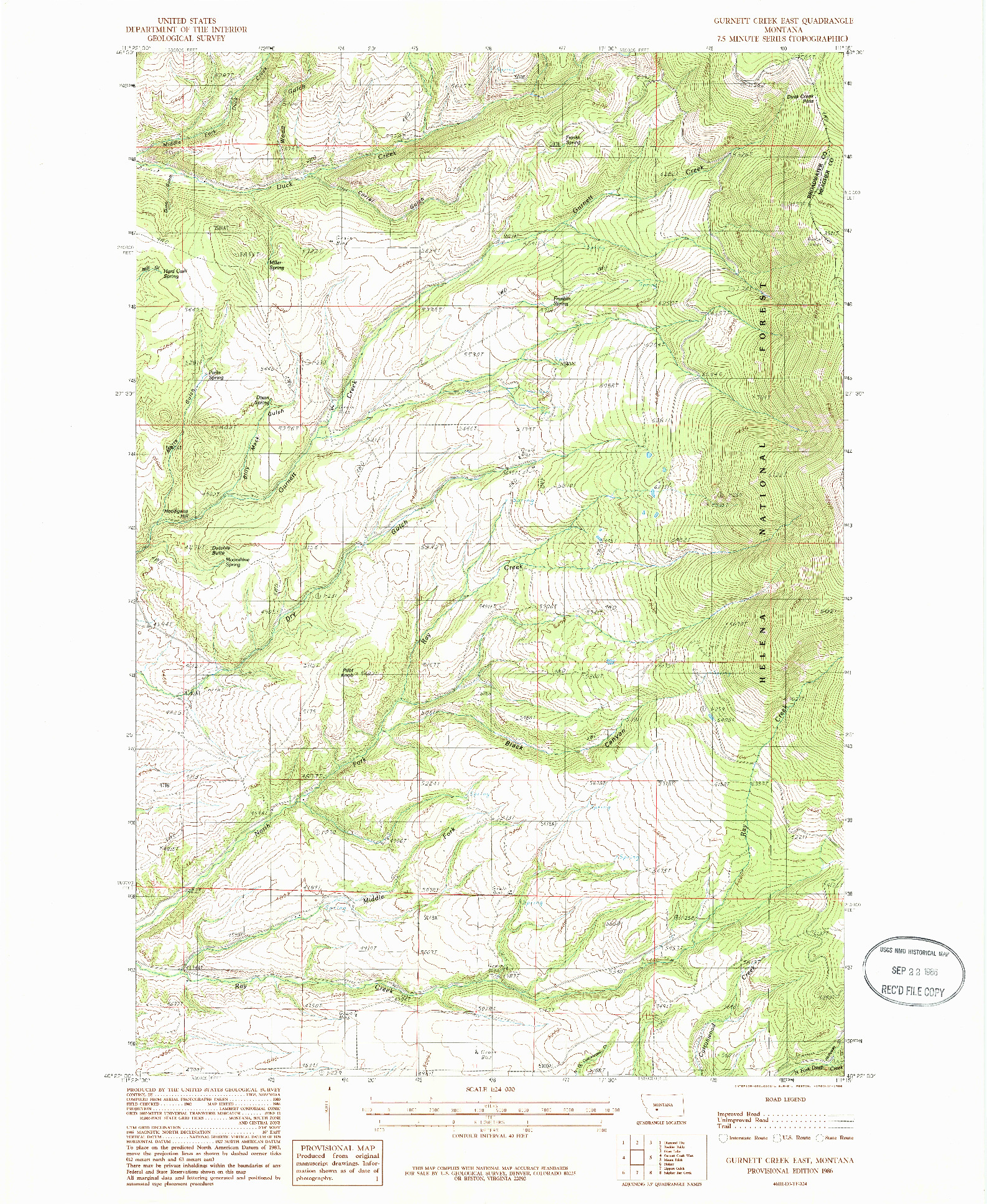 USGS 1:24000-SCALE QUADRANGLE FOR GURNETT CREEK EAST, MT 1986