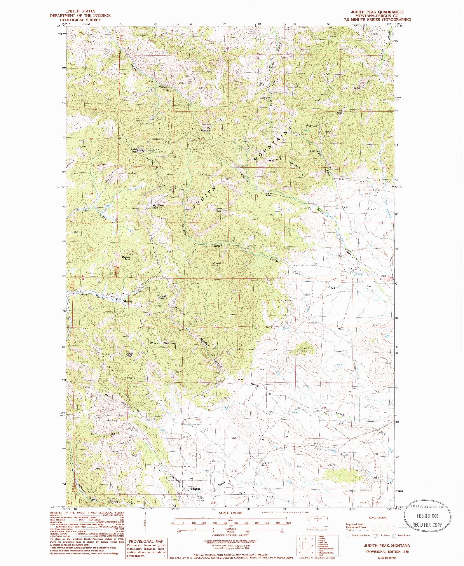 USGS 1:24000-SCALE QUADRANGLE FOR JUDITH PEAK, MT 1985