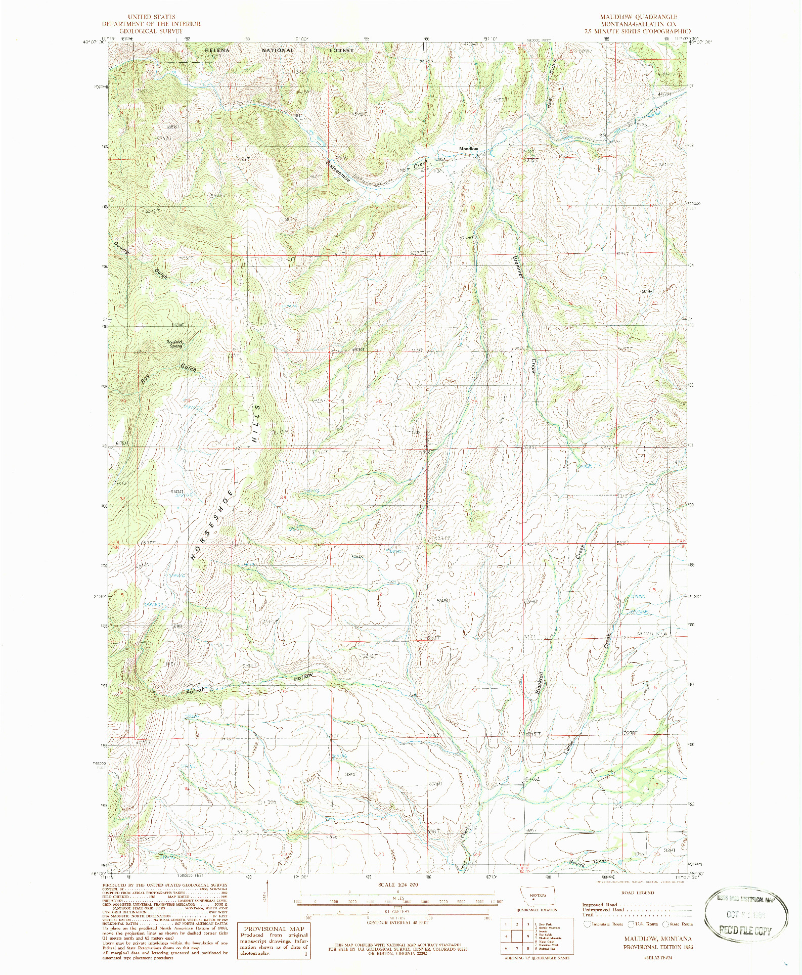 USGS 1:24000-SCALE QUADRANGLE FOR MAUDLOW, MT 1986