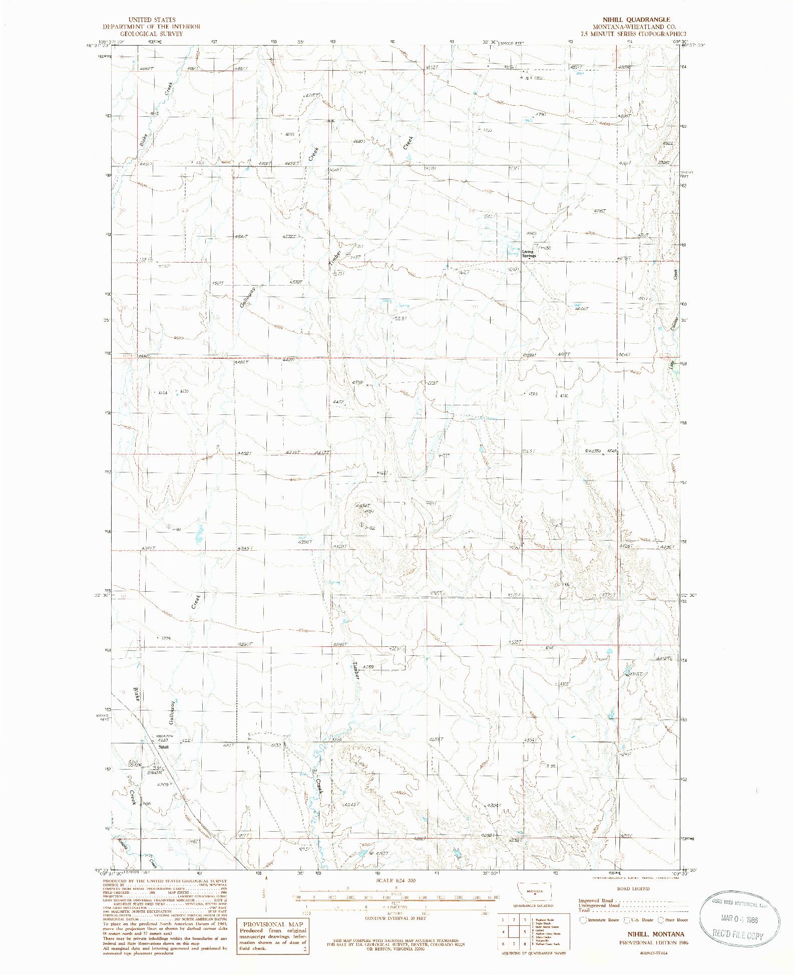 USGS 1:24000-SCALE QUADRANGLE FOR NIHILL, MT 1986