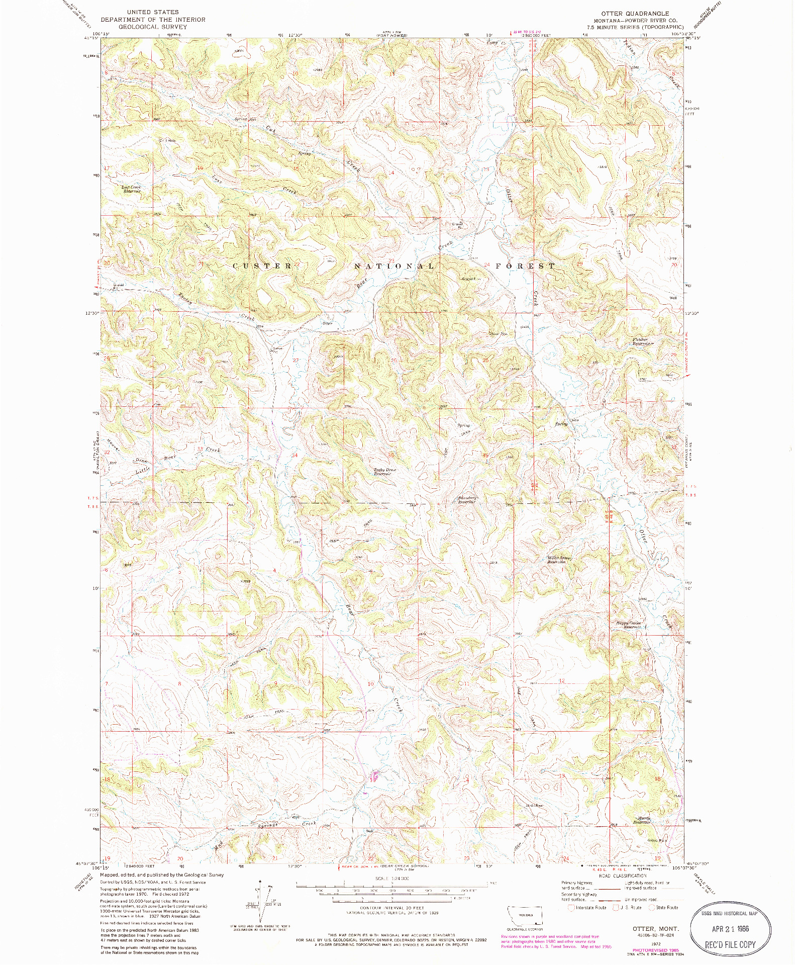 USGS 1:24000-SCALE QUADRANGLE FOR OTTER, MT 1972