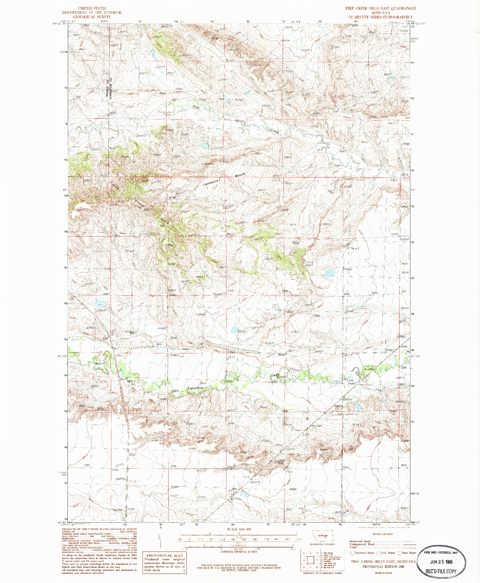 USGS 1:24000-SCALE QUADRANGLE FOR PIKE CREEK HILLS EAST, MT 1986