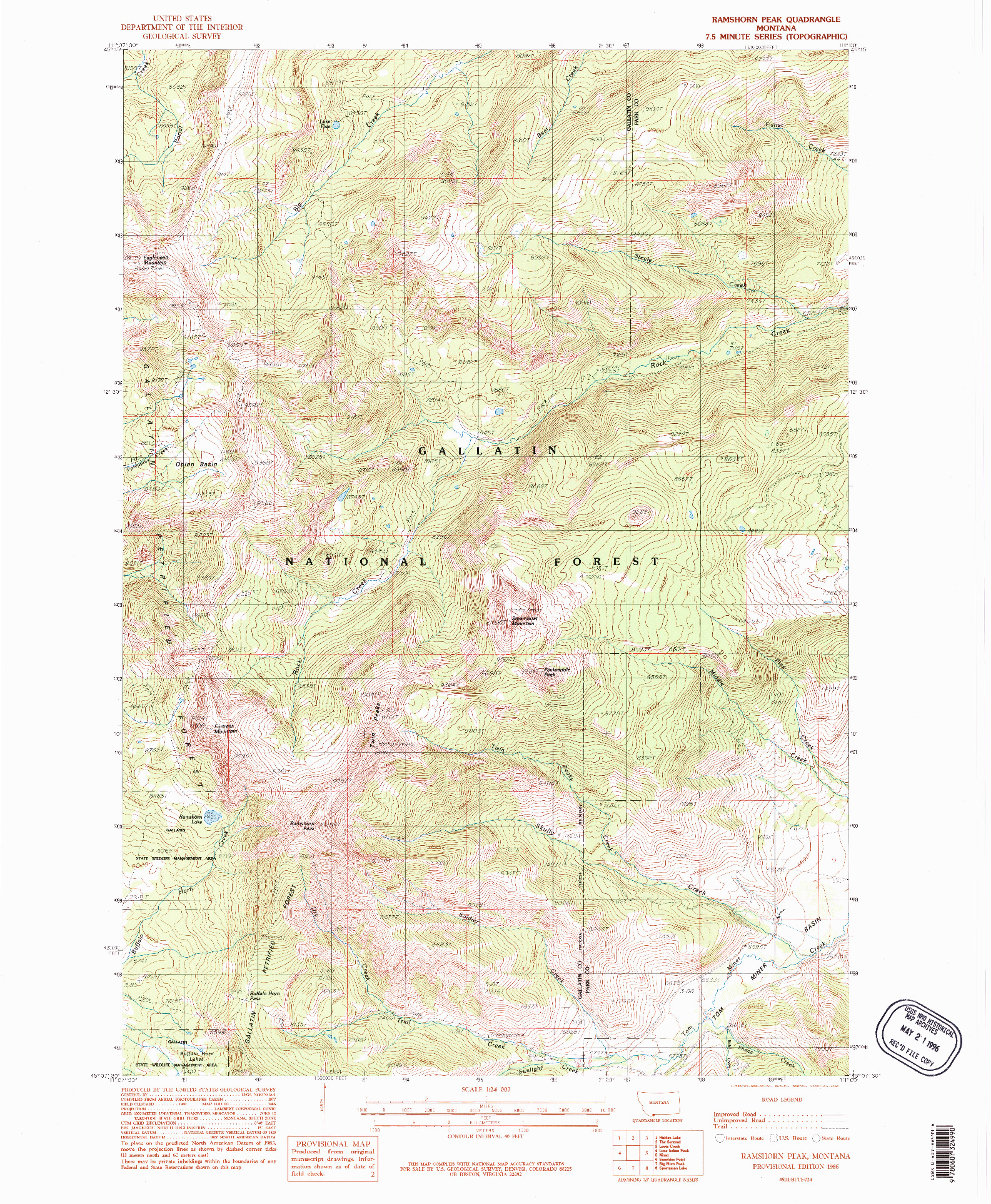 USGS 1:24000-SCALE QUADRANGLE FOR RAMSHORN PEAK, MT 1986