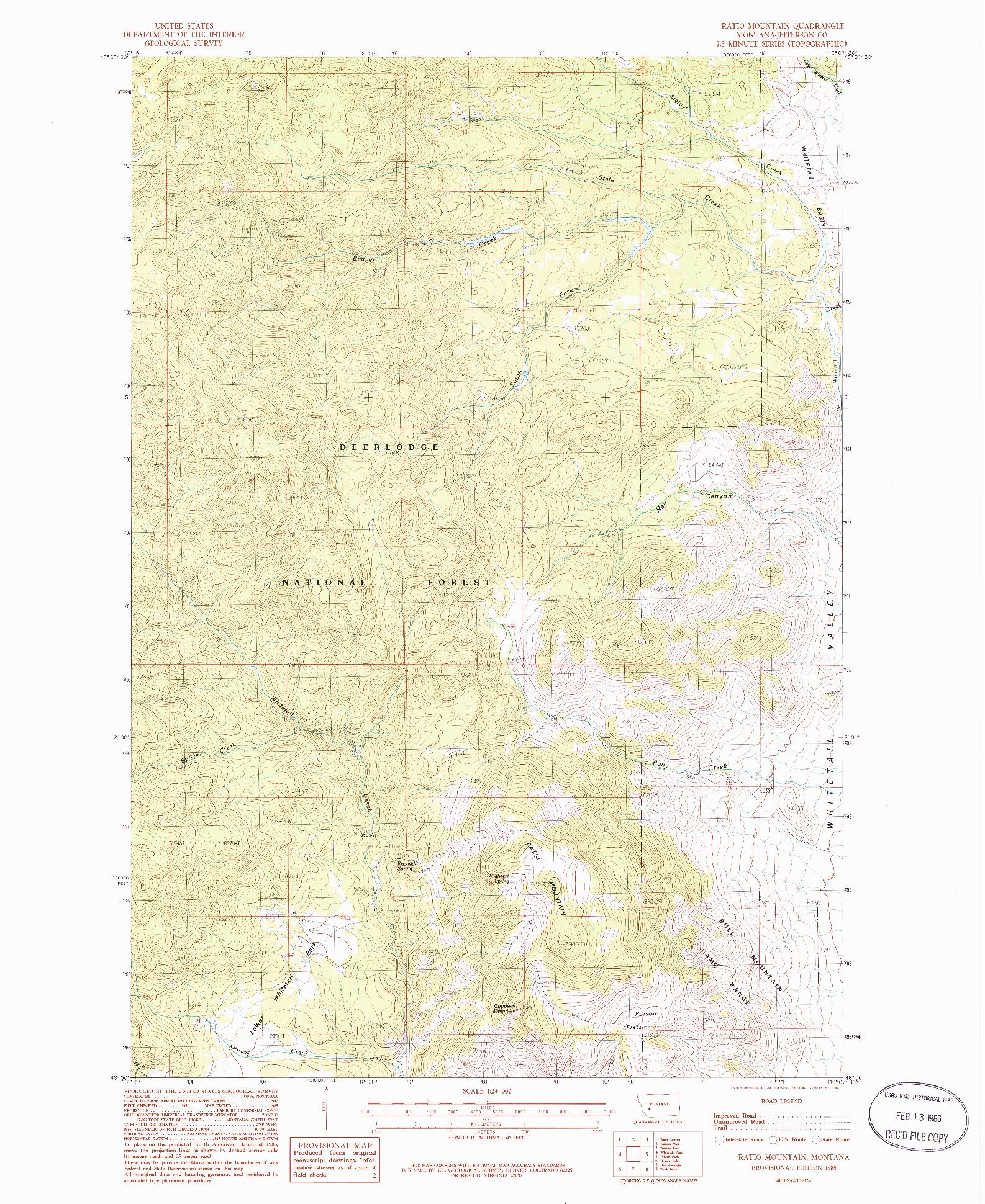 USGS 1:24000-SCALE QUADRANGLE FOR RATIO MOUNTAIN, MT 1985