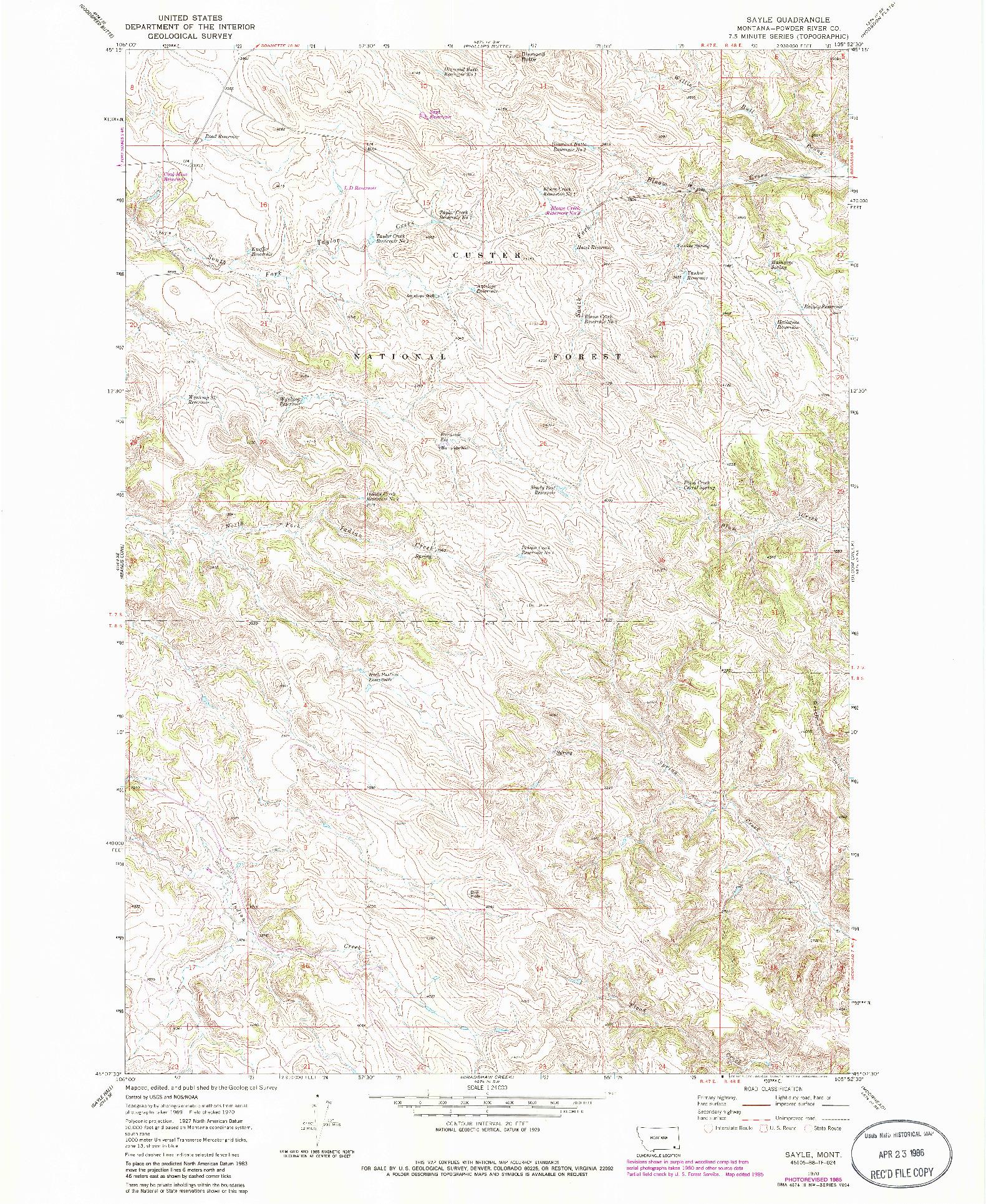 USGS 1:24000-SCALE QUADRANGLE FOR SAYLE, MT 1970