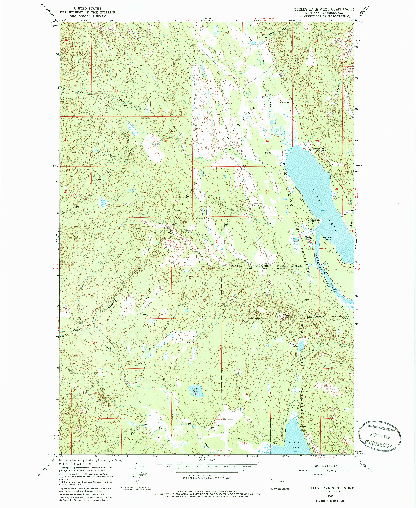 USGS 1:24000-SCALE QUADRANGLE FOR SEELEY LAKE WEST, MT 1965
