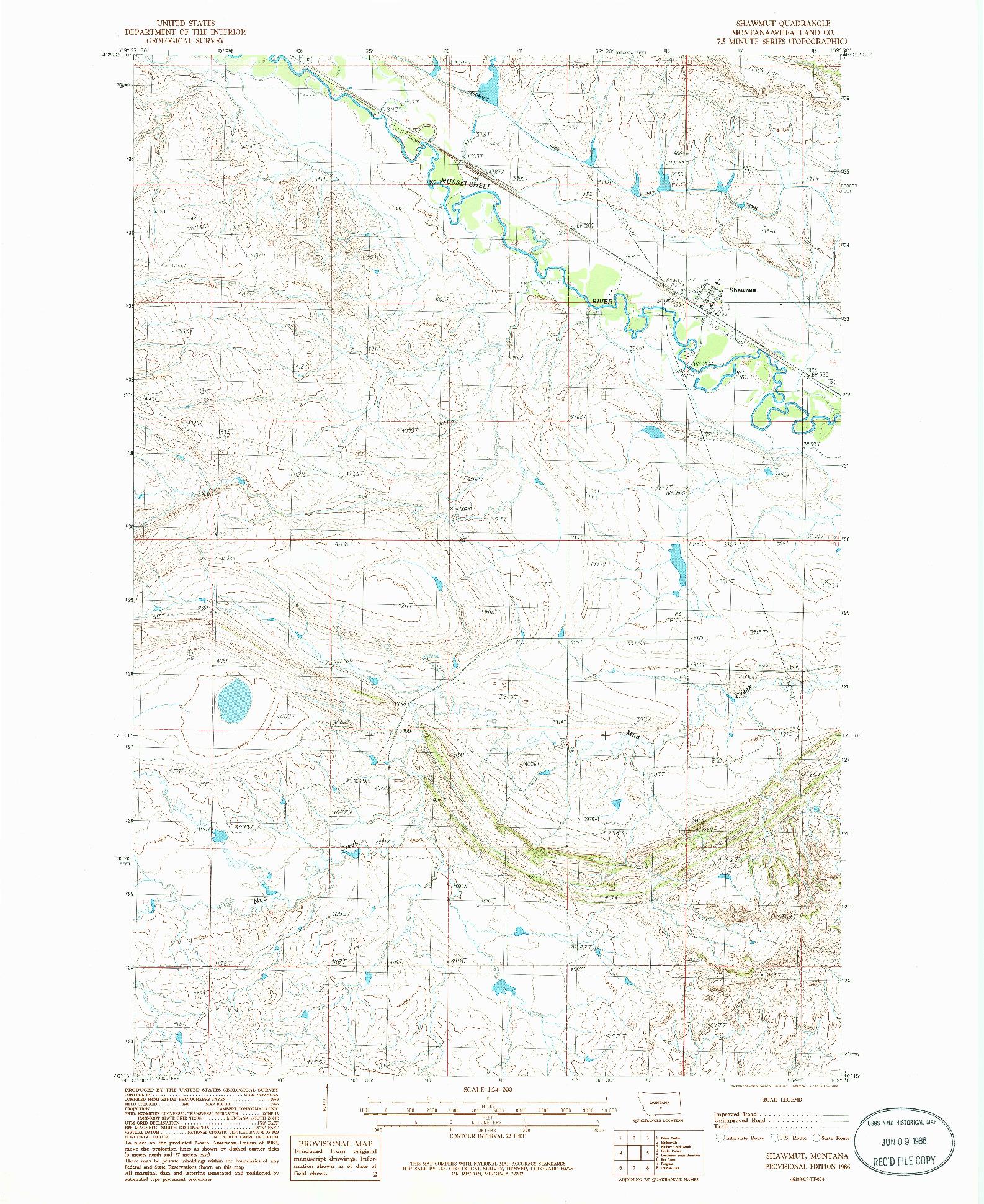 USGS 1:24000-SCALE QUADRANGLE FOR SHAWMUT, MT 1986