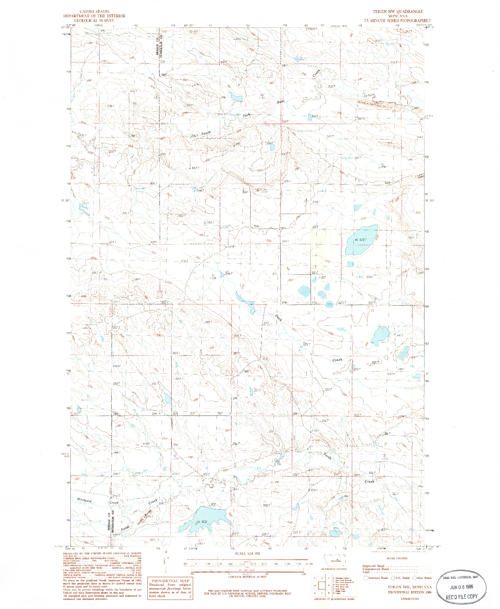 USGS 1:24000-SCALE QUADRANGLE FOR TEIGEN NW, MT 1986