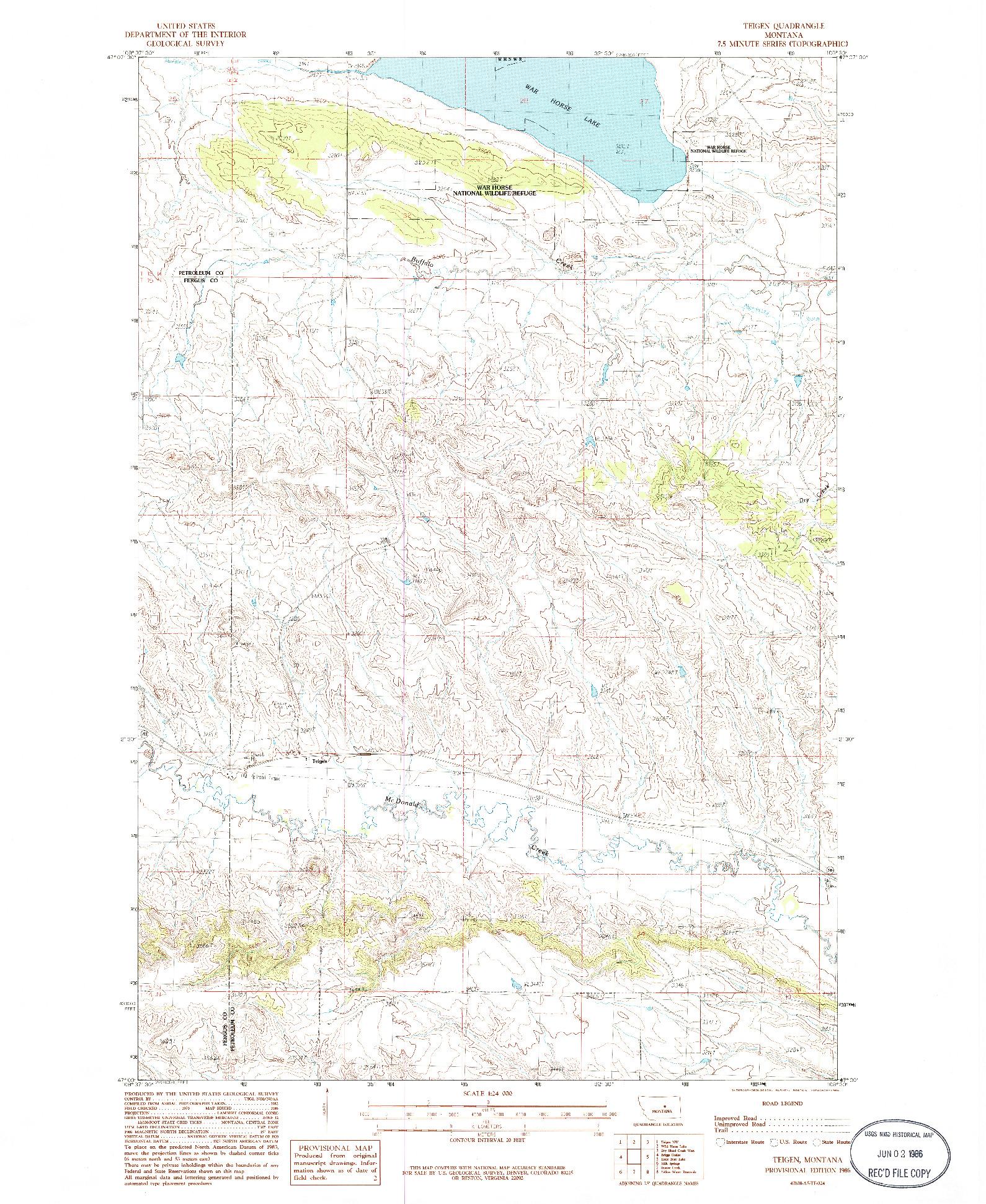 USGS 1:24000-SCALE QUADRANGLE FOR TEIGEN, MT 1986