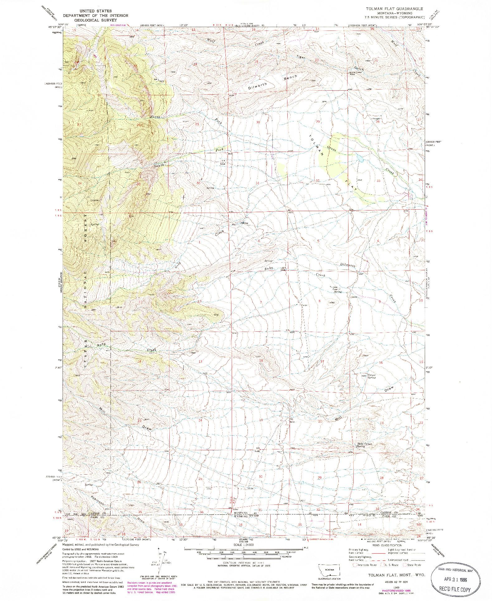 USGS 1:24000-SCALE QUADRANGLE FOR TOLMAN FLAT, MT 1969