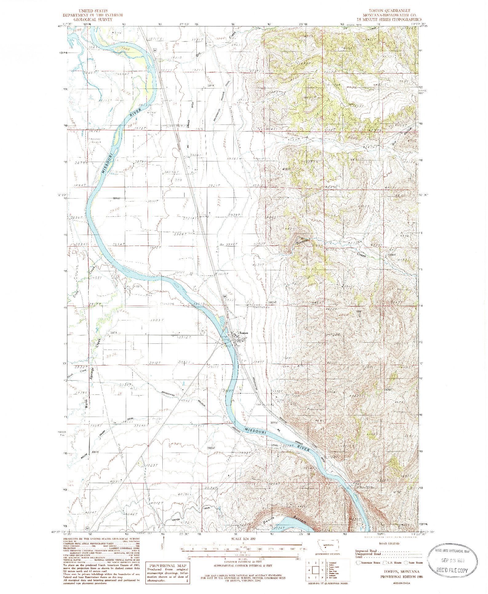 USGS 1:24000-SCALE QUADRANGLE FOR TOSTON, MT 1986