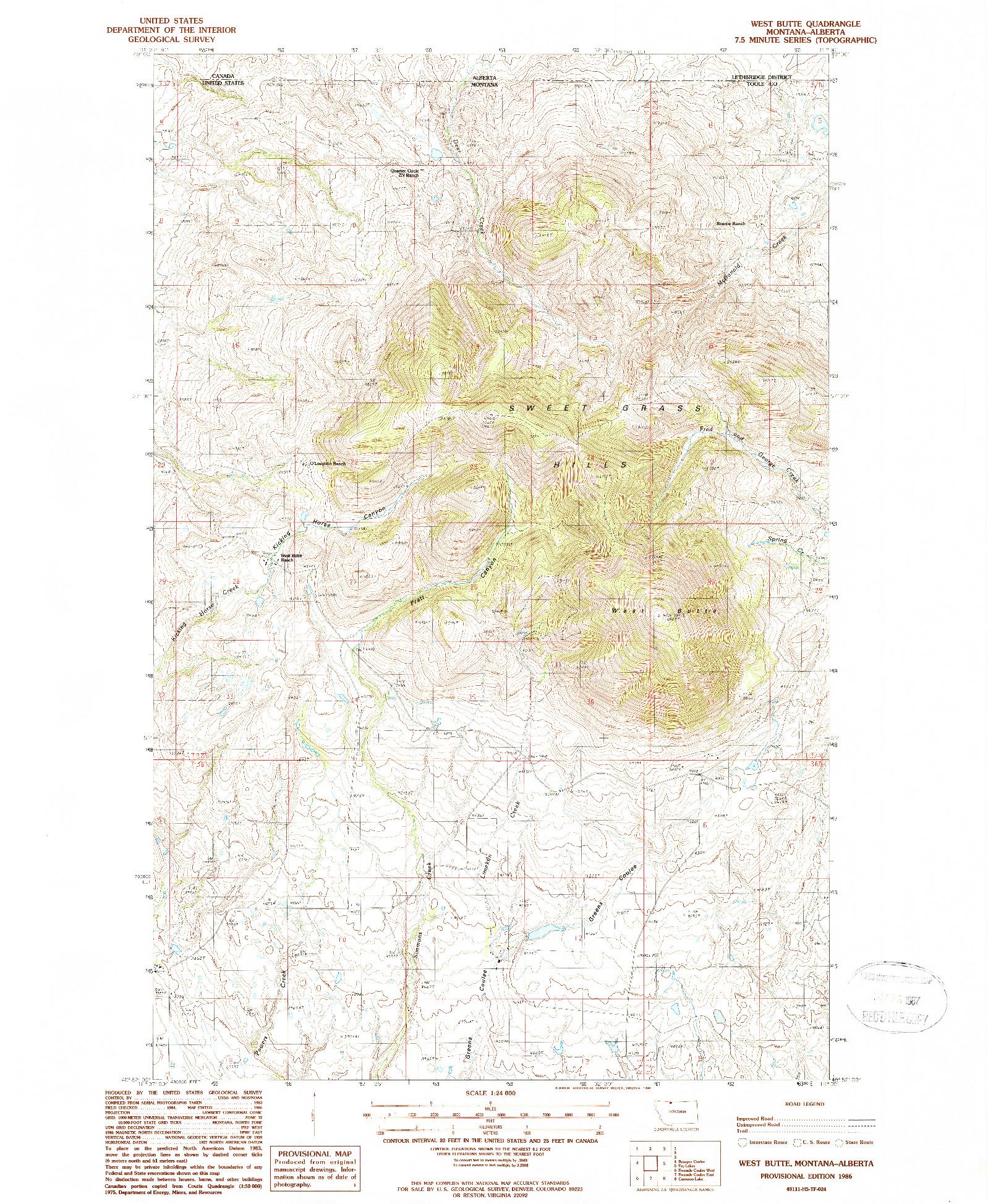 USGS 1:24000-SCALE QUADRANGLE FOR WEST BUTTE, MT 1986
