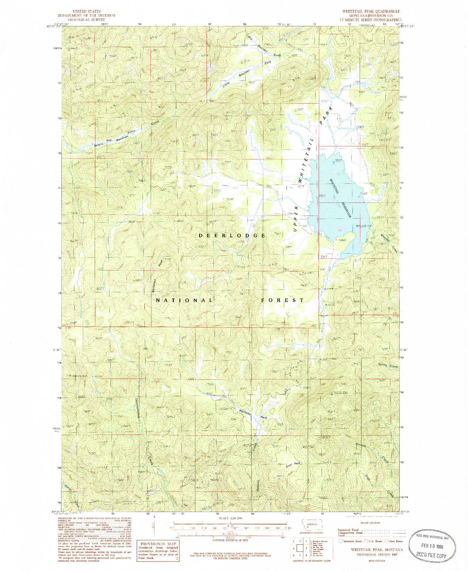 USGS 1:24000-SCALE QUADRANGLE FOR WHITETAIL PEAK, MT 1985