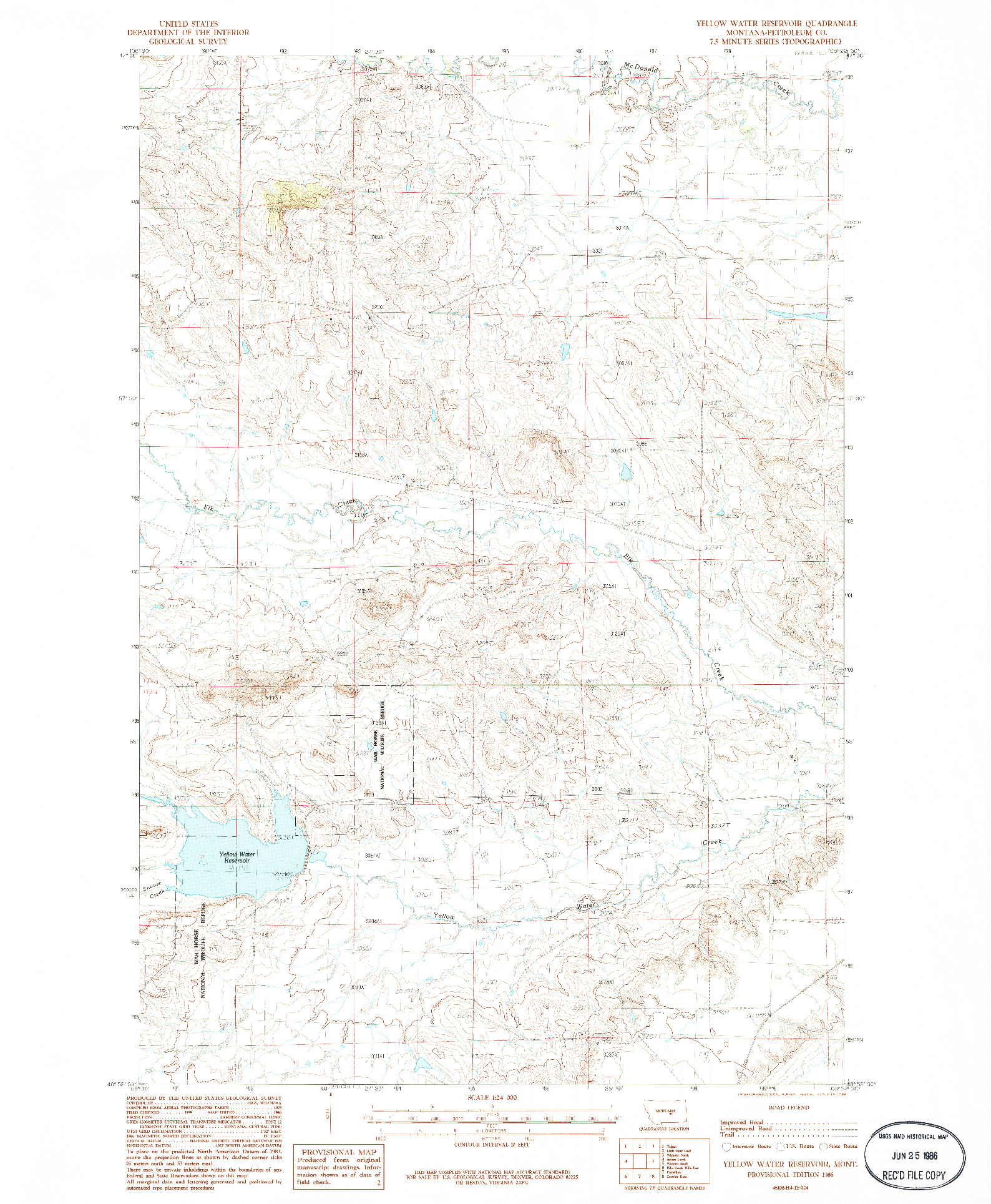 USGS 1:24000-SCALE QUADRANGLE FOR YELLOW WATER RESERVOIR, MT 1986