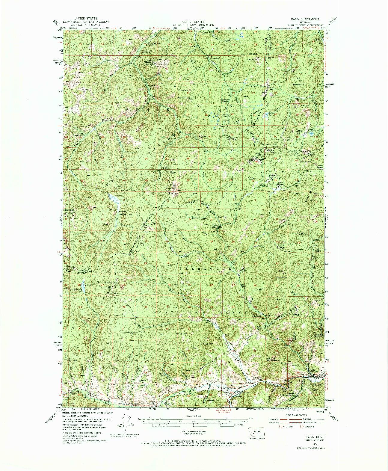 USGS 1:62500-SCALE QUADRANGLE FOR BASIN, MT 1954