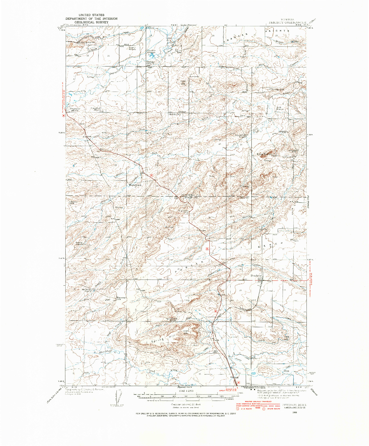 USGS 1:62500-SCALE QUADRANGLE FOR PENDROY, MT 1936