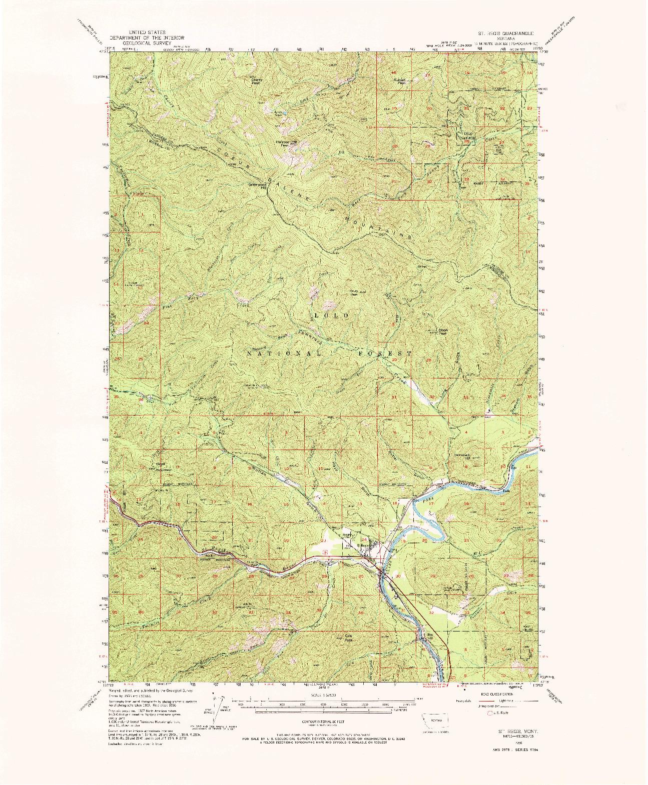 USGS 1:62500-SCALE QUADRANGLE FOR ST REGIS, MT 1956