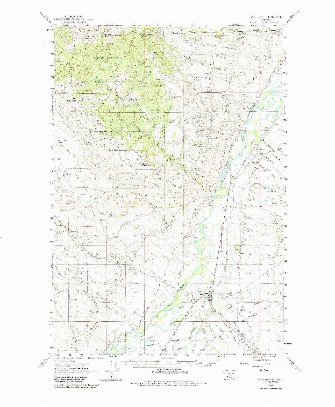 USGS 1:62500-SCALE QUADRANGLE FOR TWIN BRIDGES, MT 1960