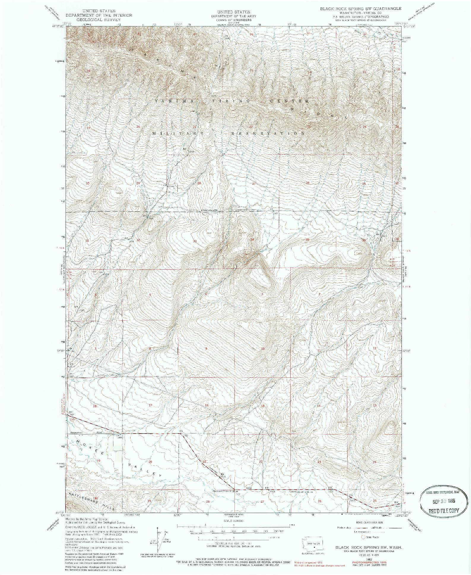 USGS 1:24000-SCALE QUADRANGLE FOR BLACK ROCK SPRING SW, WA 1953