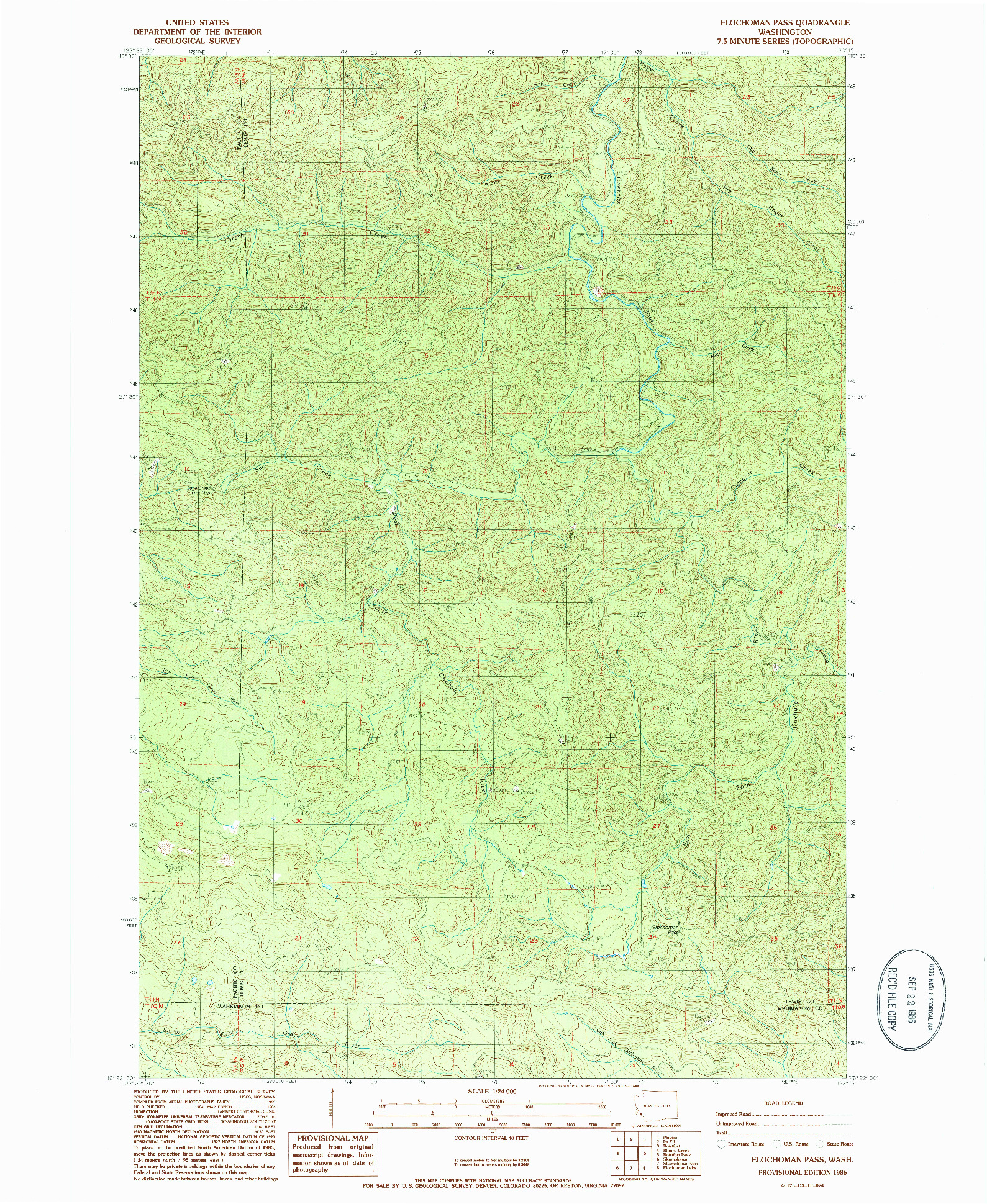 USGS 1:24000-SCALE QUADRANGLE FOR ELOCHOMAN PASS, WA 1986