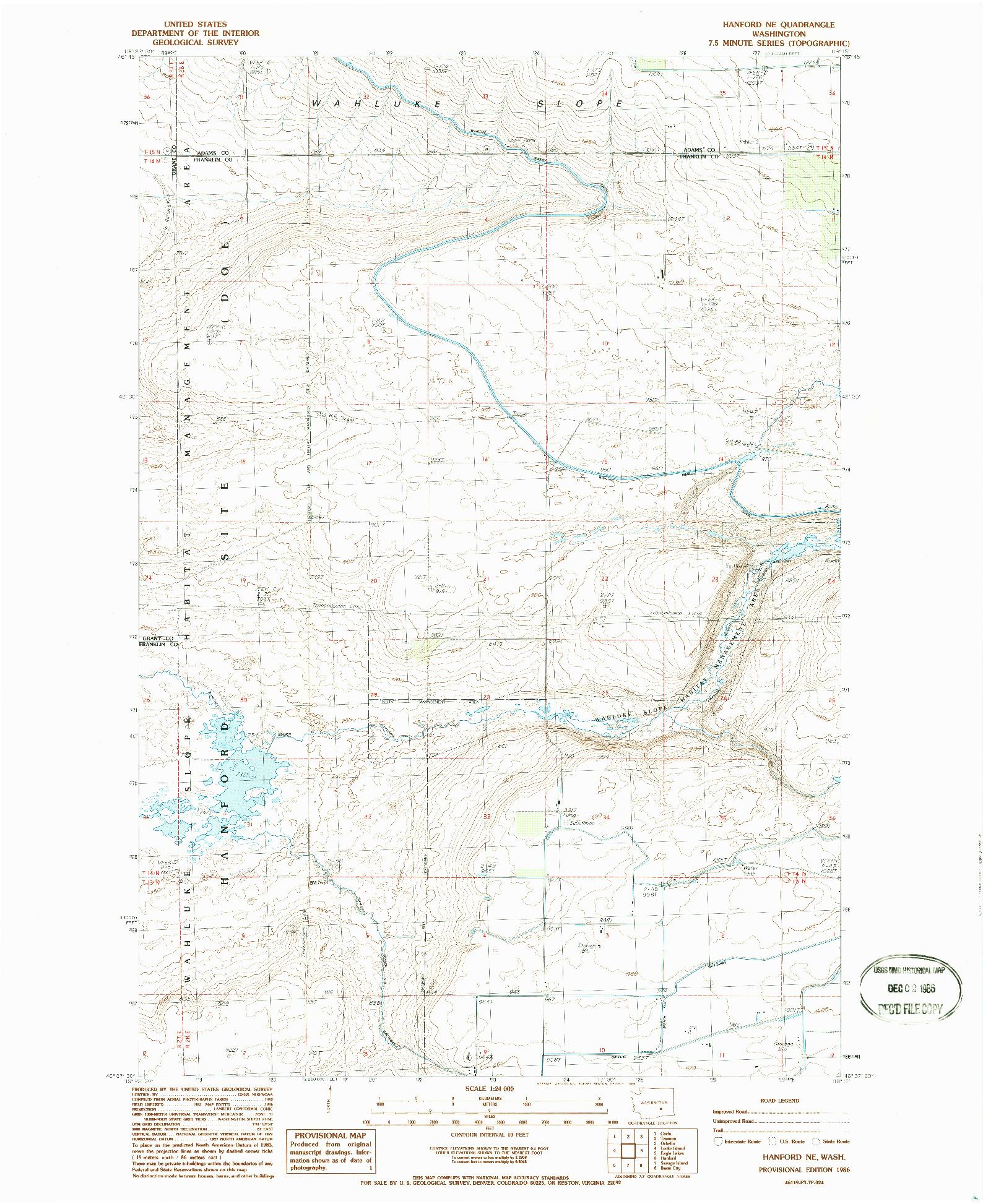 USGS 1:24000-SCALE QUADRANGLE FOR HANFORD NE, WA 1986