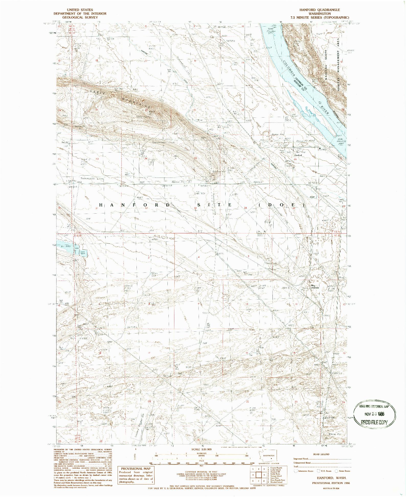 USGS 1:24000-SCALE QUADRANGLE FOR HANFORD, WA 1986