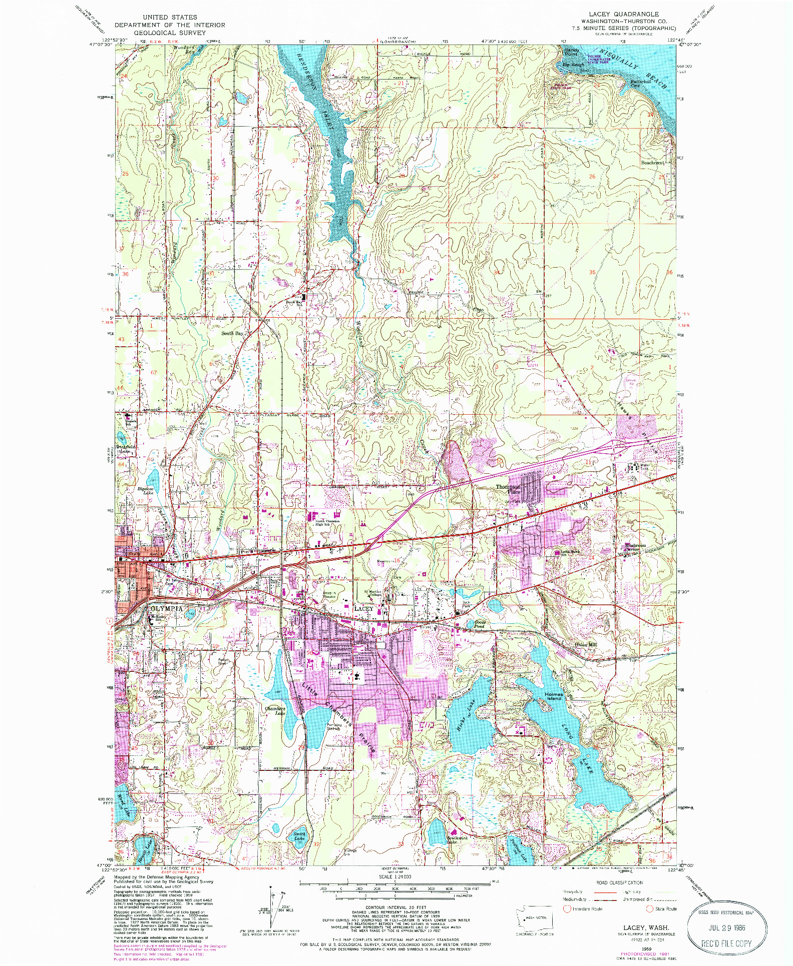 USGS 1:24000-SCALE QUADRANGLE FOR LACEY, WA 1959
