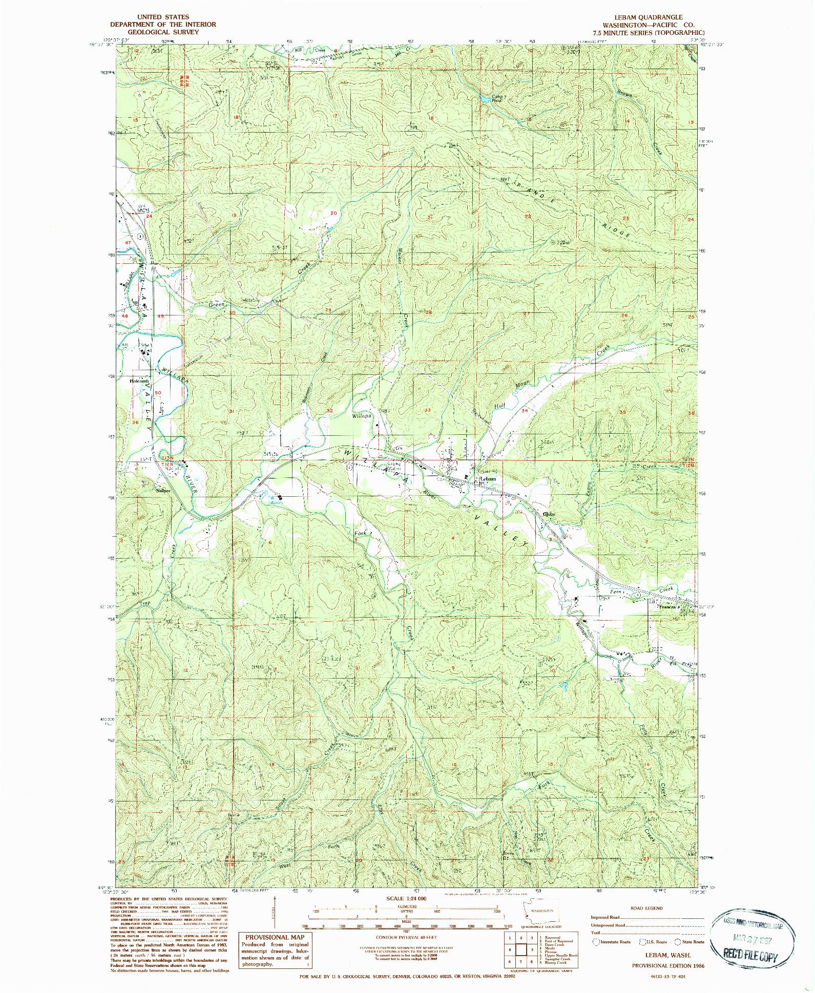 USGS 1:24000-SCALE QUADRANGLE FOR LEBAM, WA 1986
