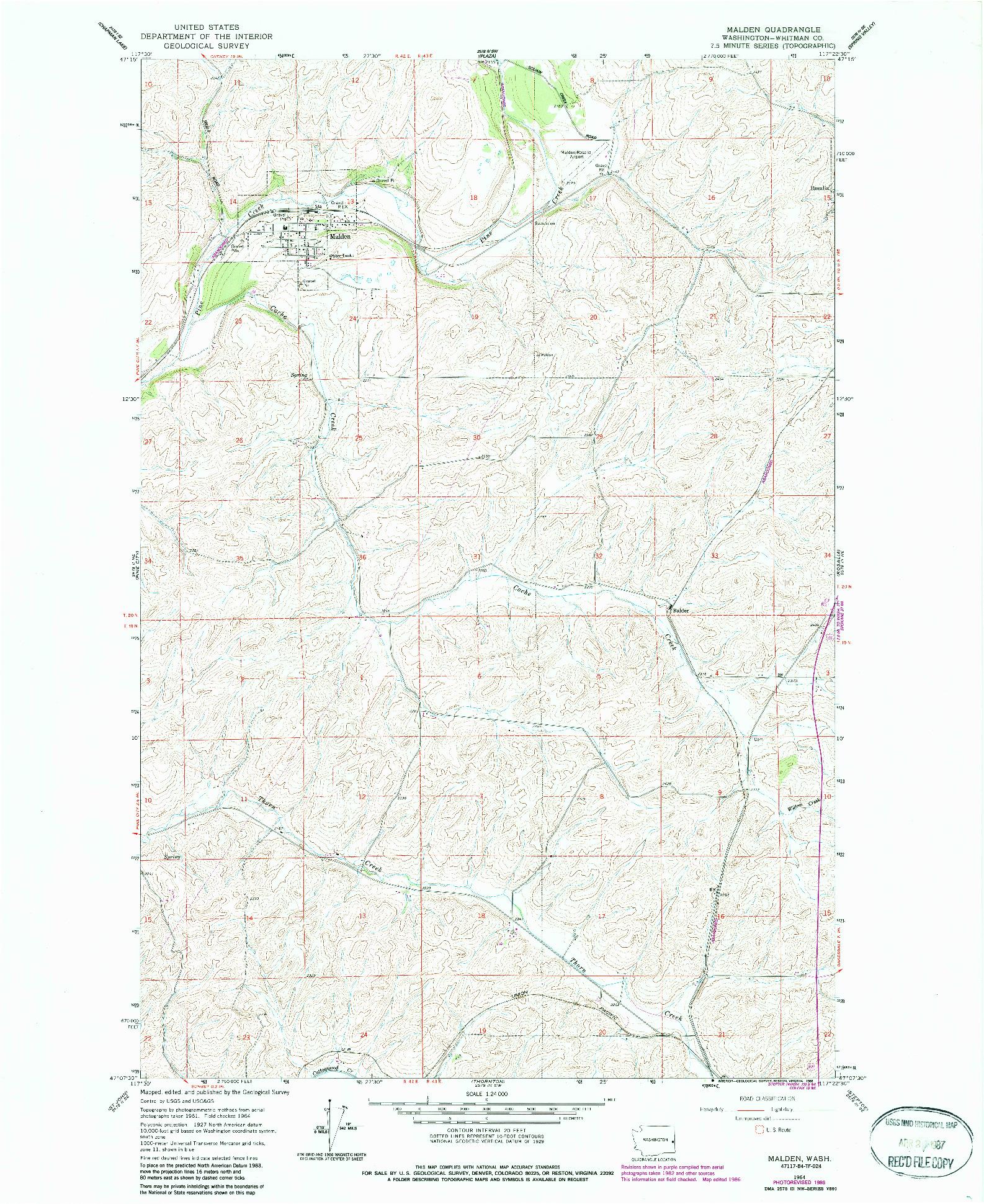 USGS 1:24000-SCALE QUADRANGLE FOR MALDEN, WA 1964