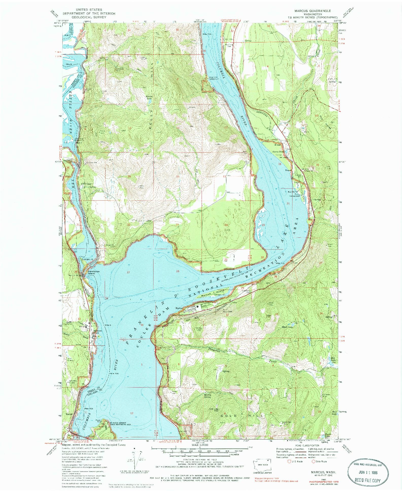 USGS 1:24000-SCALE QUADRANGLE FOR MARCUS, WA 1969