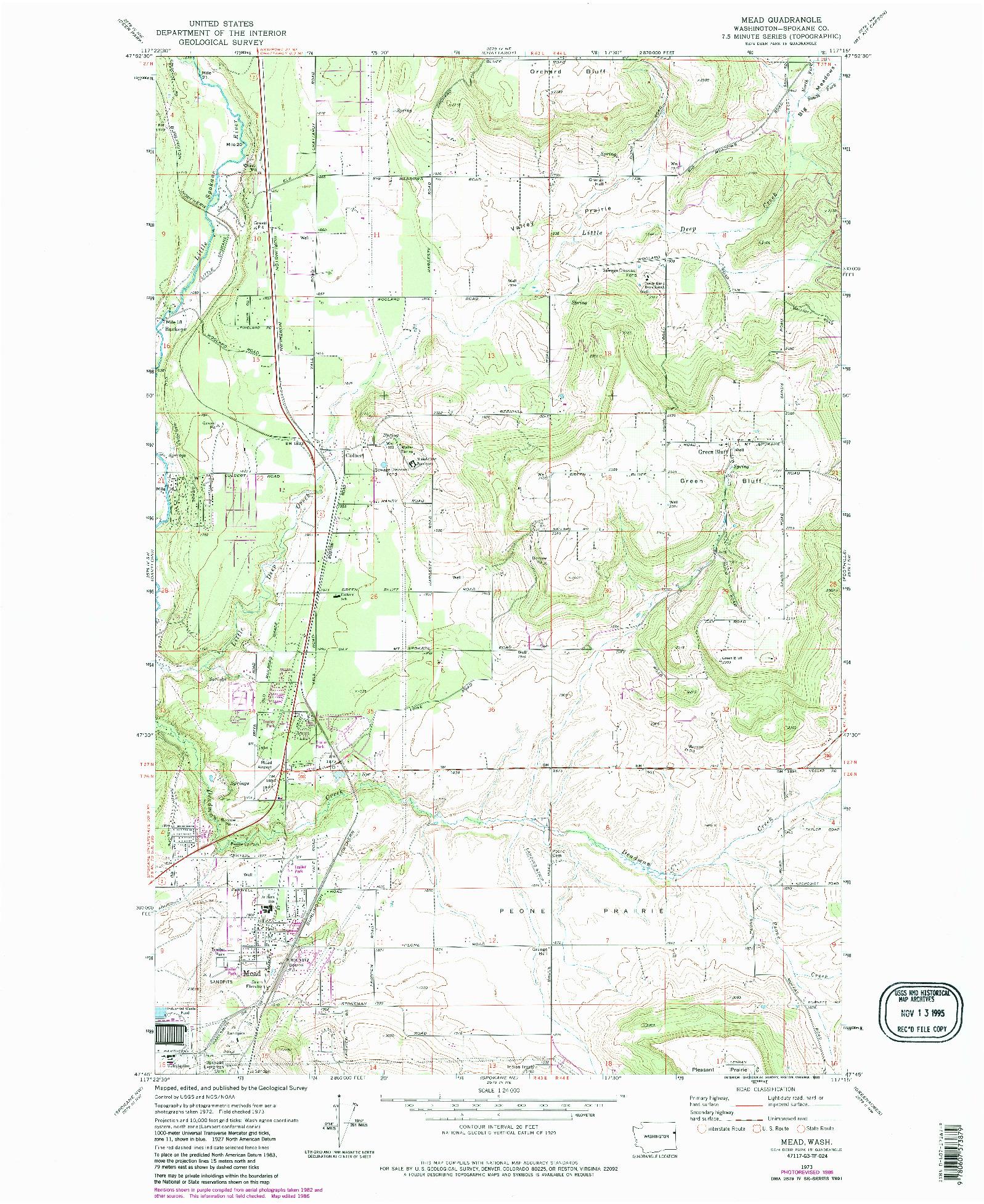 USGS 1:24000-SCALE QUADRANGLE FOR MEAD, WA 1973